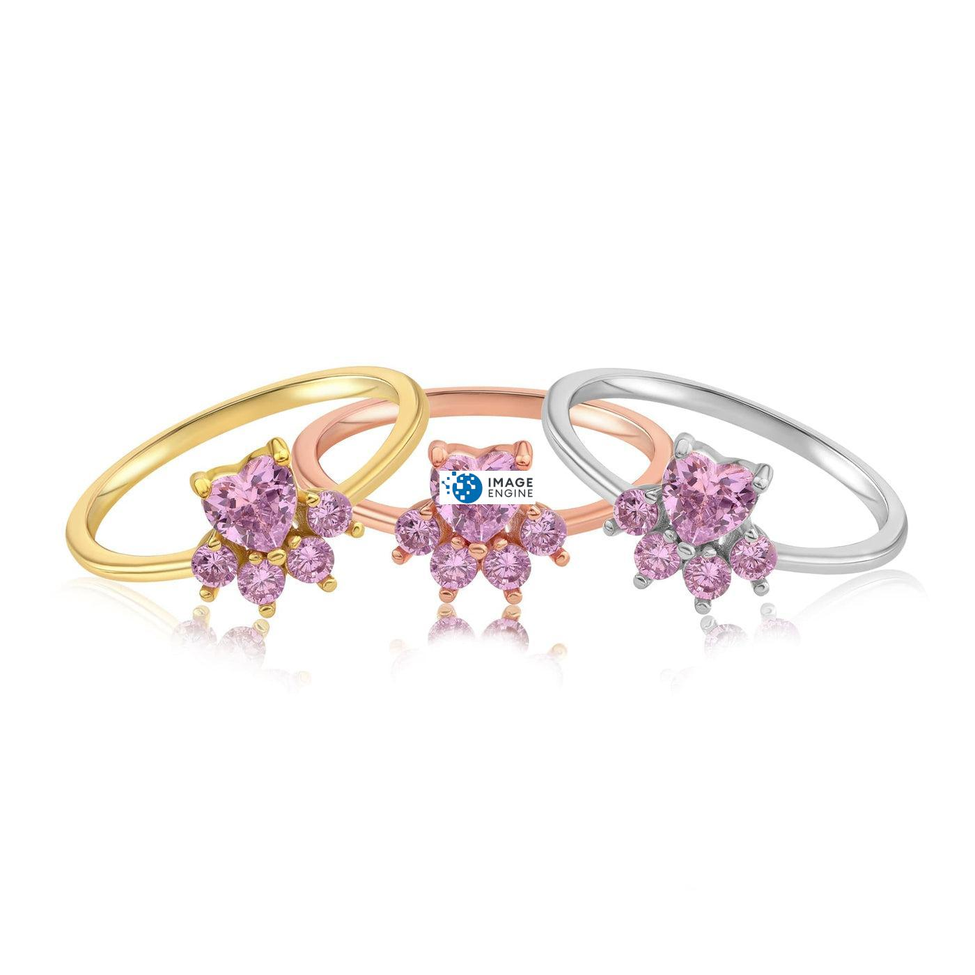 Bella Paw Rose Quartz Ring - Front View - Collection