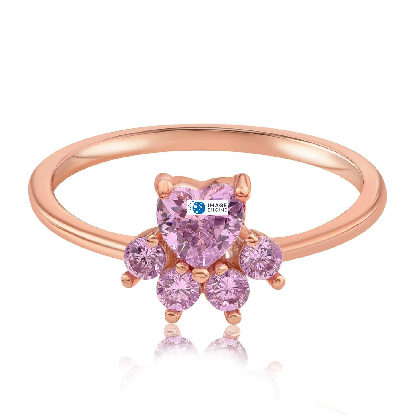Bella Paw Rose Quartz Ring - Front View Facing Down - 18K Rose Gold Vermeil