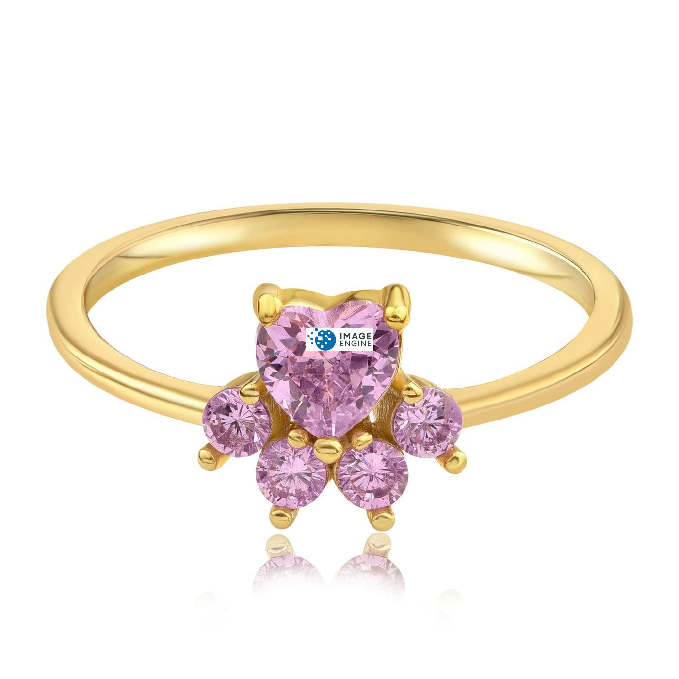 Bella Paw Rose Quartz Ring - Front View Facing Down - 18K Yellow Gold Vermeil