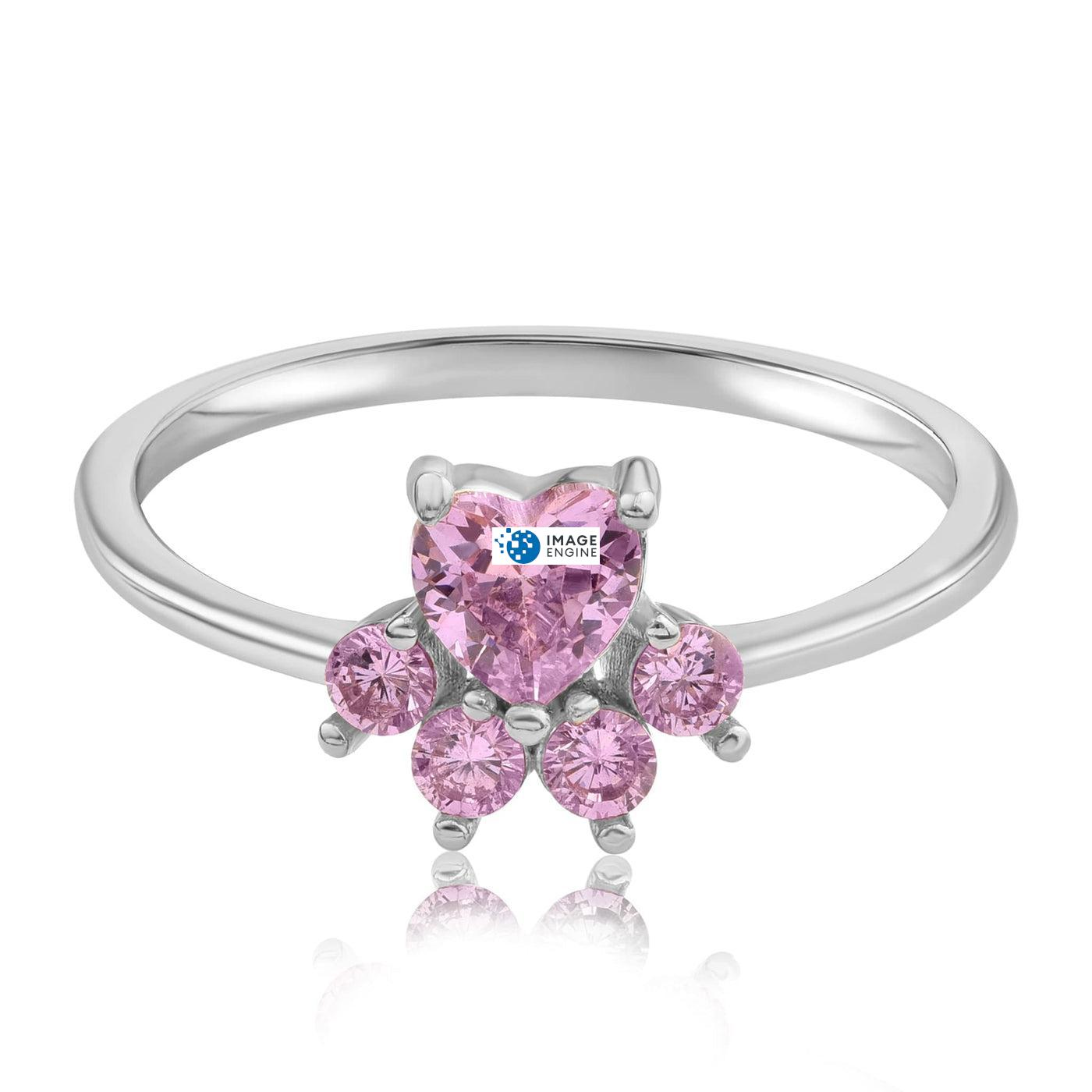 Bella Paw Rose Quartz Ring - Front View Facing Down - 925 Sterling Silver
