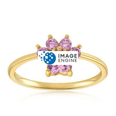 Bella Paw Rose Quartz Ring - Front View Facing Up - 18K Yellow Gold Vermeil