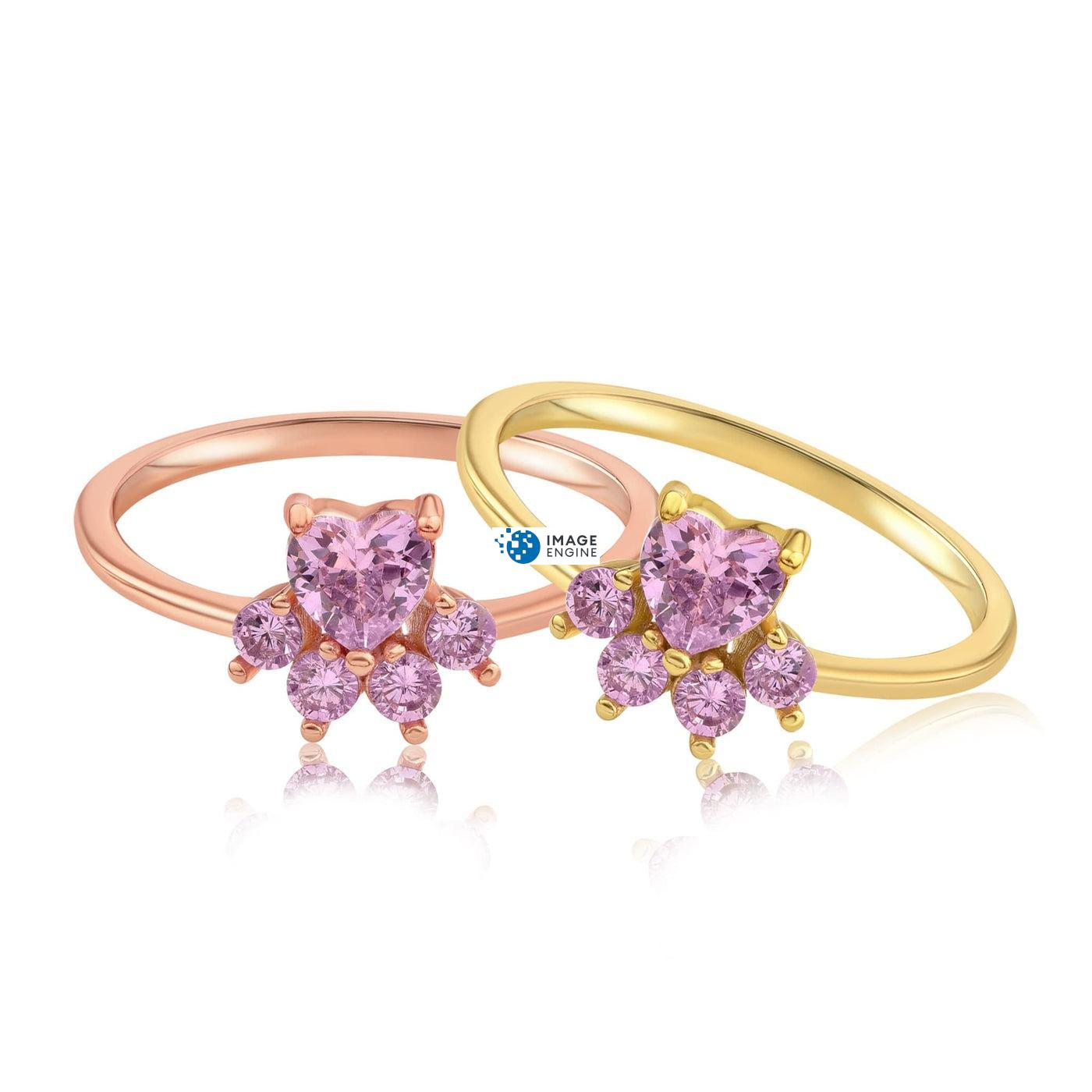 Bella Paw Rose Quartz Ring - Front View SideBy Side - 18K Rose Gold Vermeil and 18K Yellow Gold Vermeil