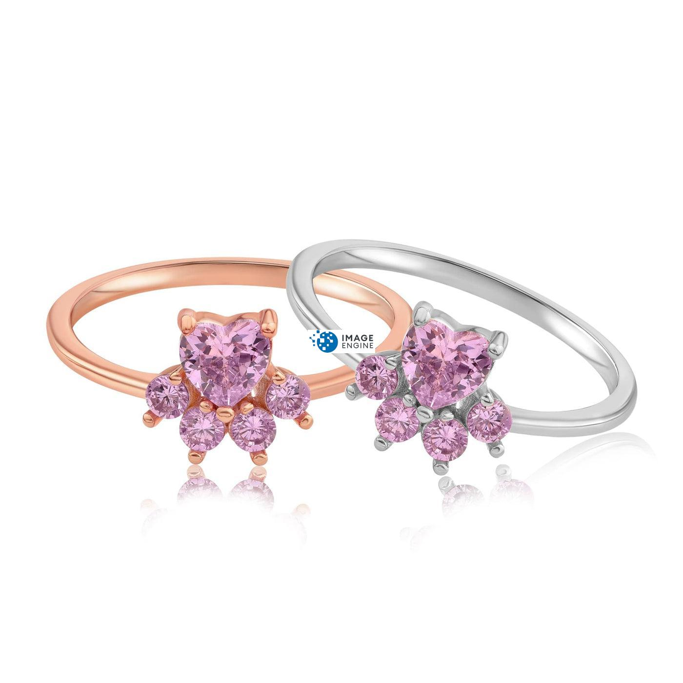 Bella Paw Rose Quartz Ring - Front View SideBy Side - 18K Rose Gold Vermeil and 925 Sterling Silver