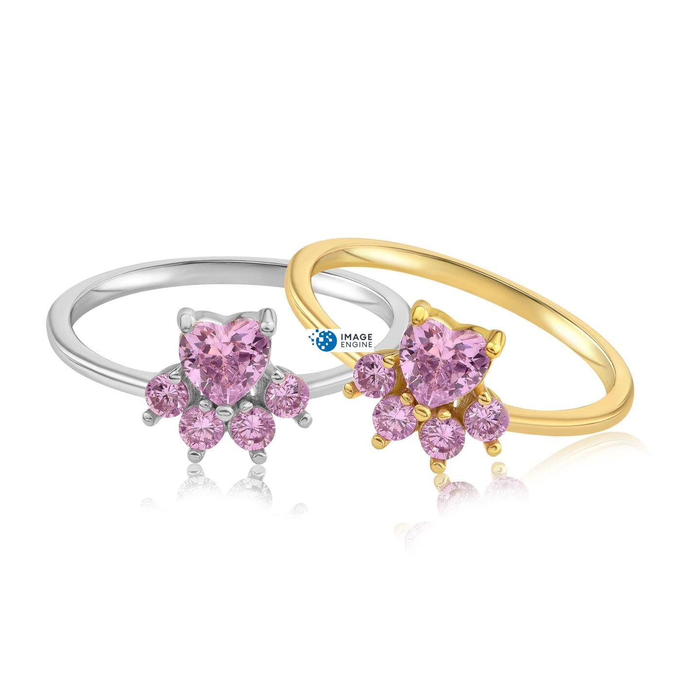 Bella Paw Rose Quartz Ring - Front View SideBy Side - 18K Yellow Gold Vermeil and 925 Sterling Silver