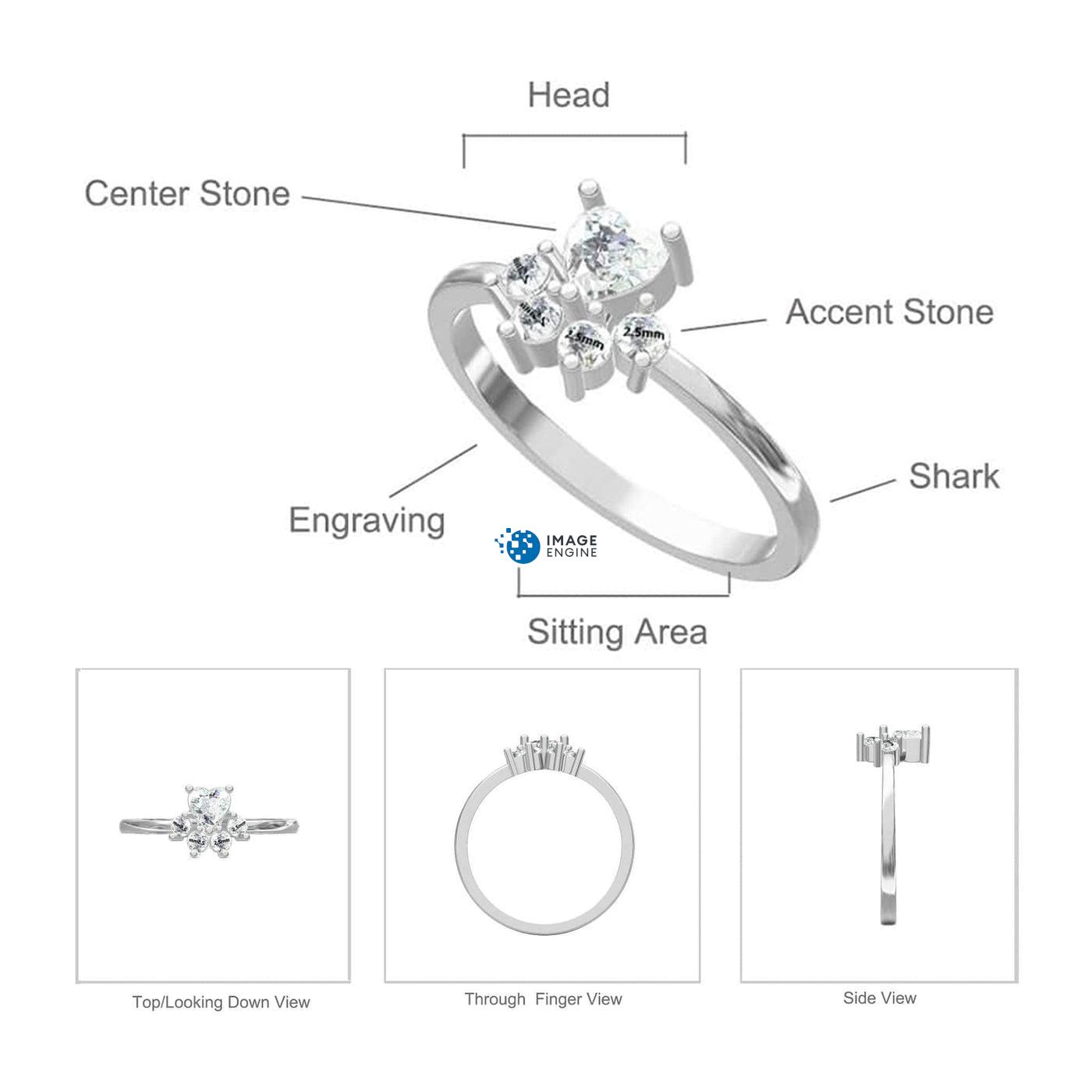 Bella Paw Rose Quartz Ring - Parts - Diagram