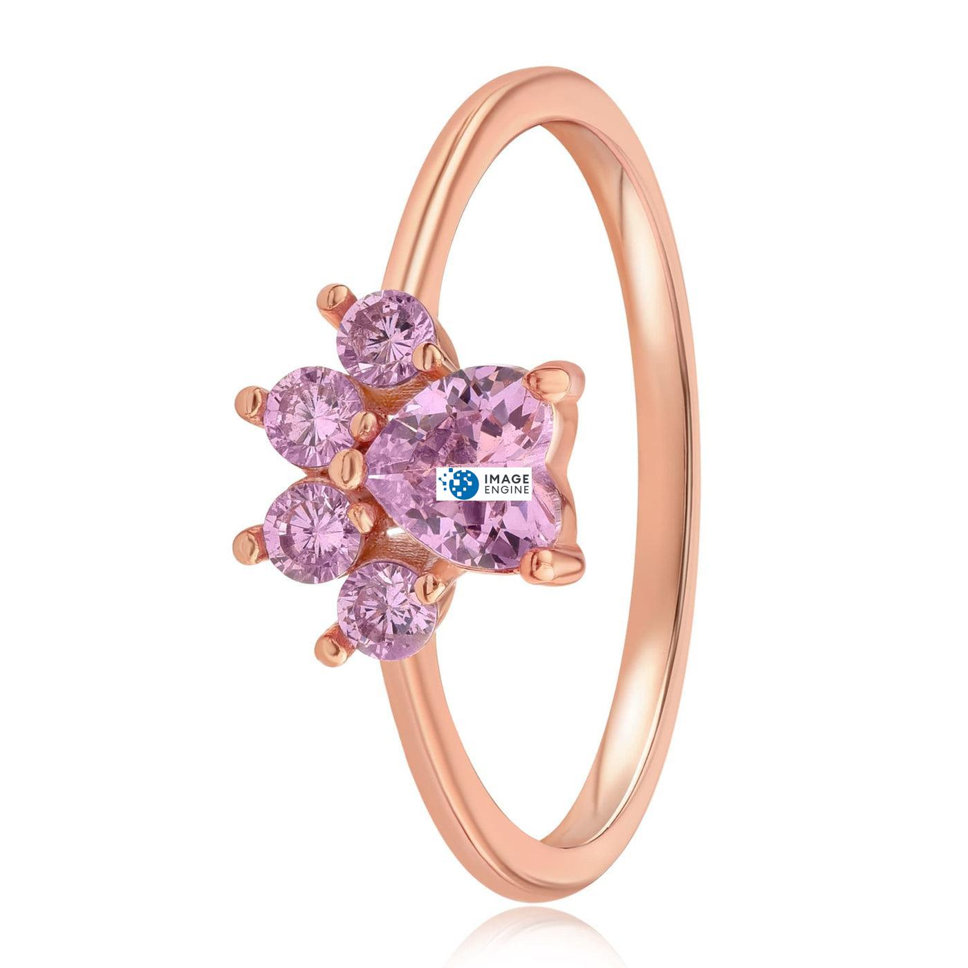 Bella Paw Rose Quartz Ring - Side View - 18K Rose Gold Vermeil