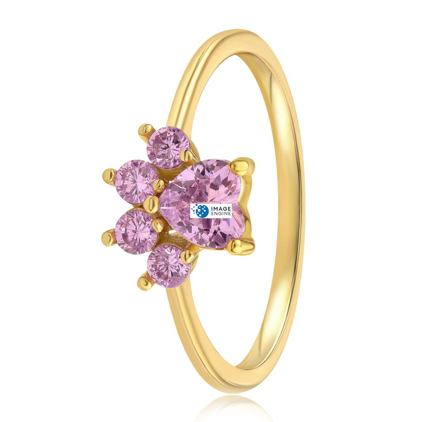 Bella Paw Rose Quartz Ring - Side View - 18K Yellow Gold Vermeil