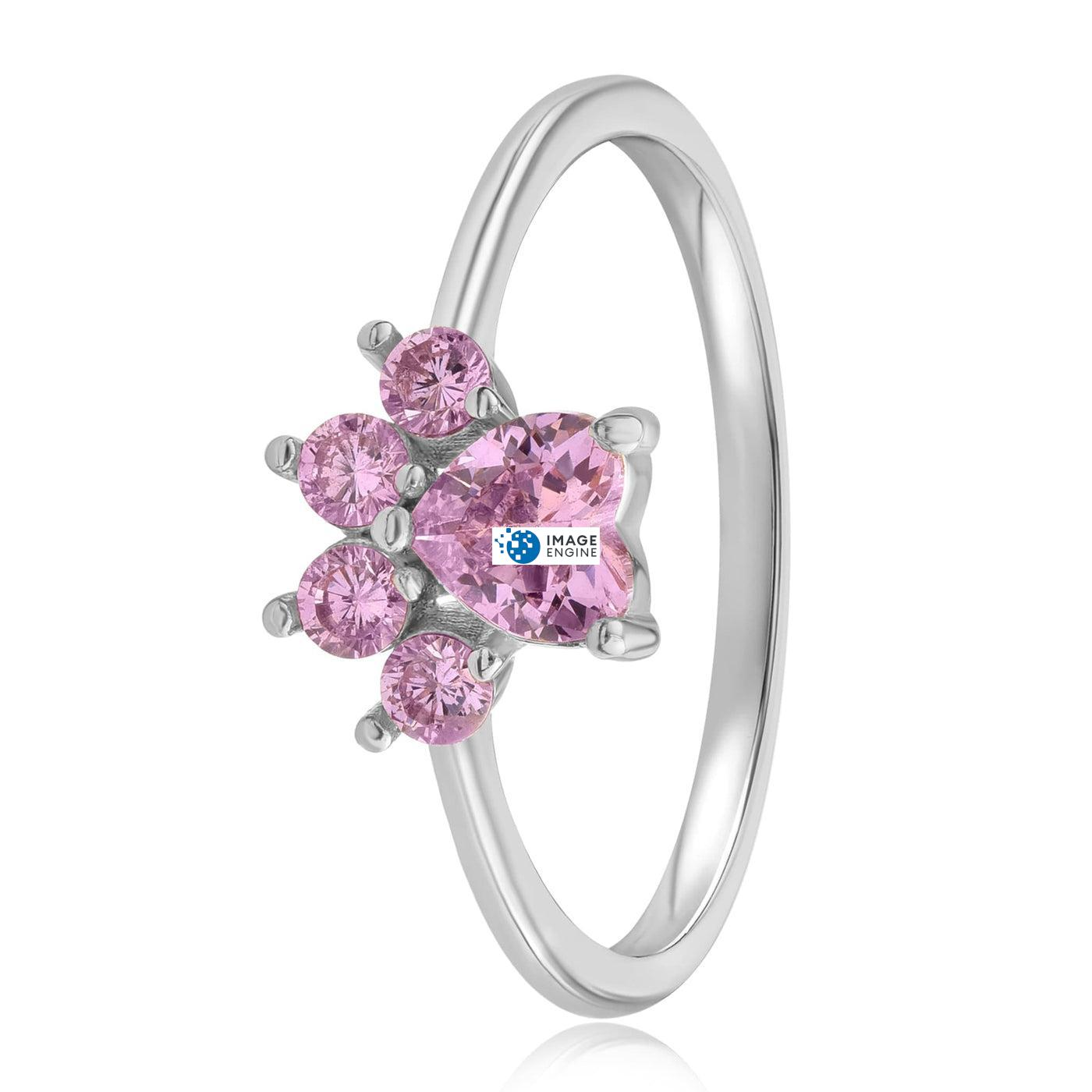 Bella Paw Rose Quartz Ring - Side View - 925 Sterling Silver