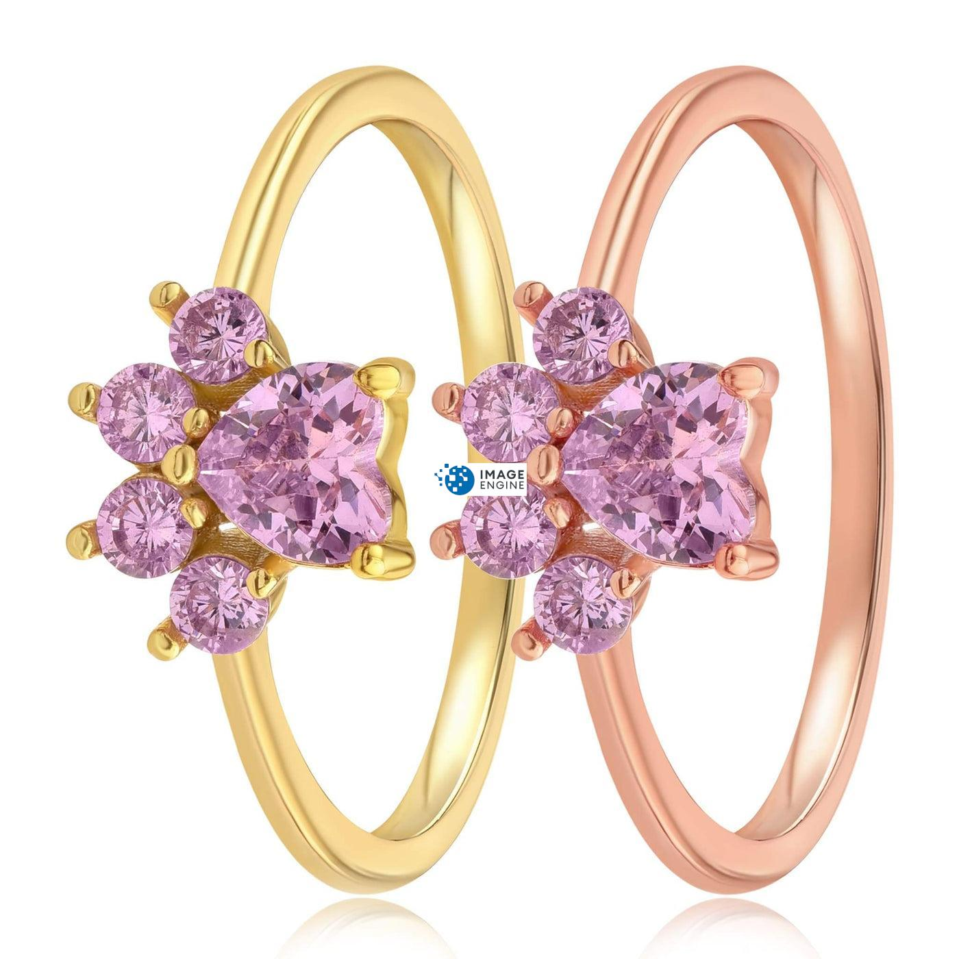 Bella Paw Rose Quartz Ring - Side By Side - 18K Yellow Gold Vermeil and 18K Rose Gold Vermeil