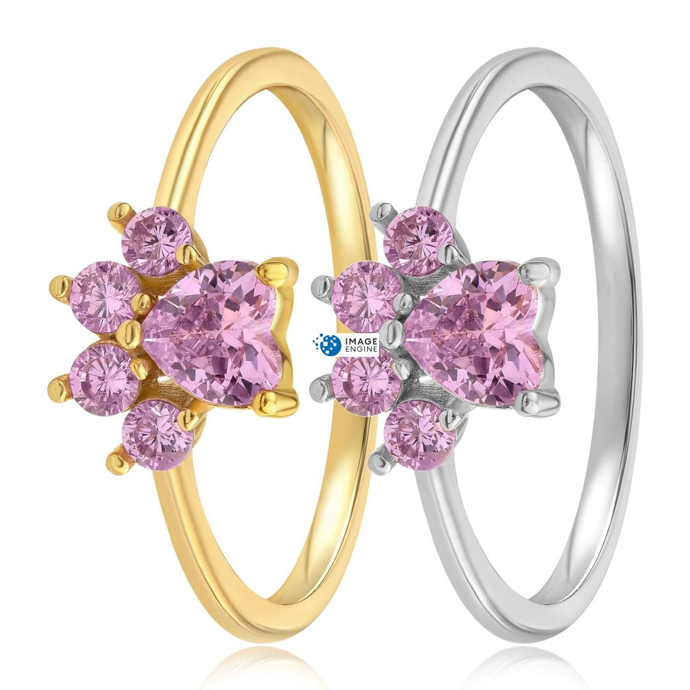 Bella Paw Rose Quartz Ring - Side By Side - 18K Yellow Gold and 925 Sterling Silver