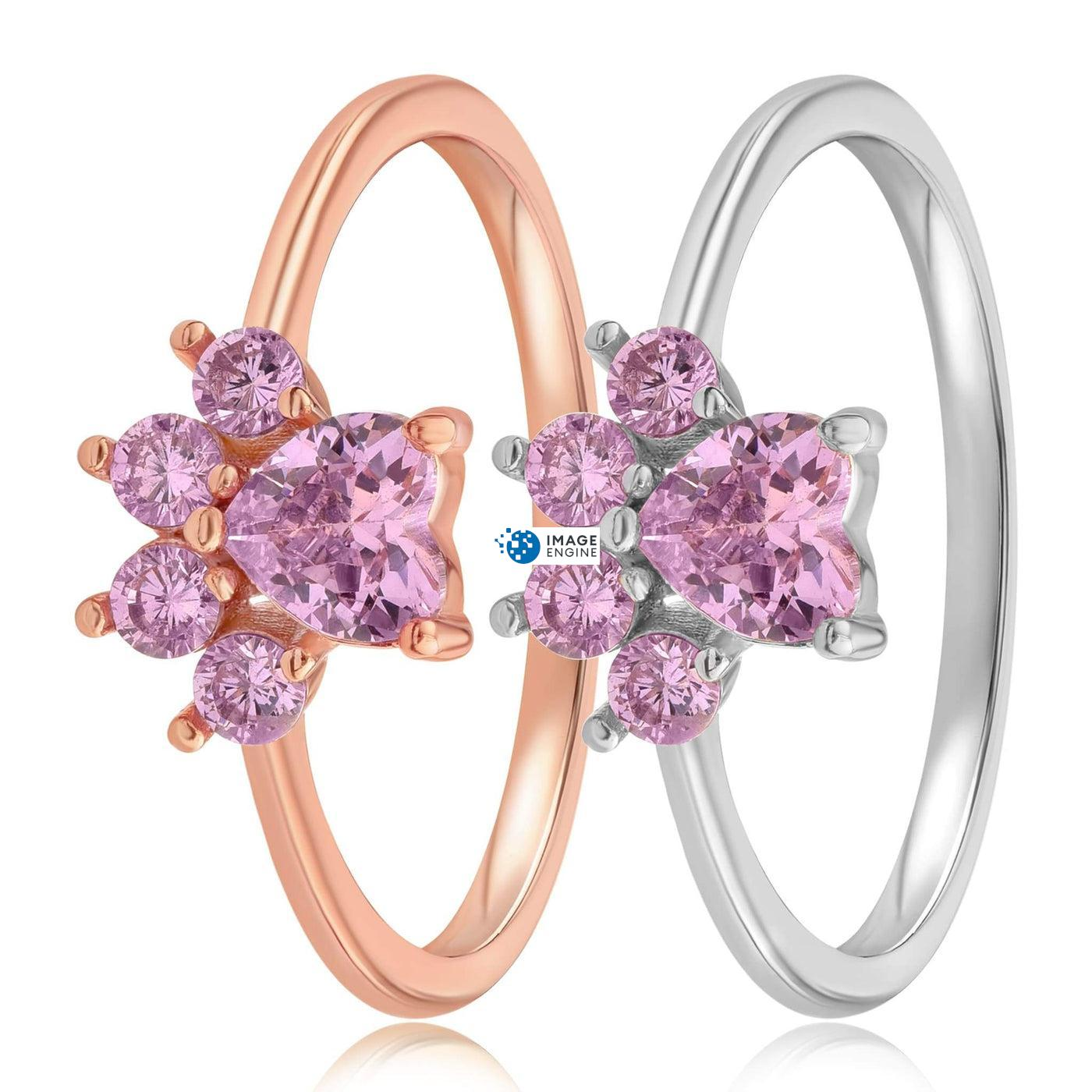 Bella Paw Rose Quartz Ring - Side By Side - 925 Sterling Silver and 18K Rose Gold Vermeil