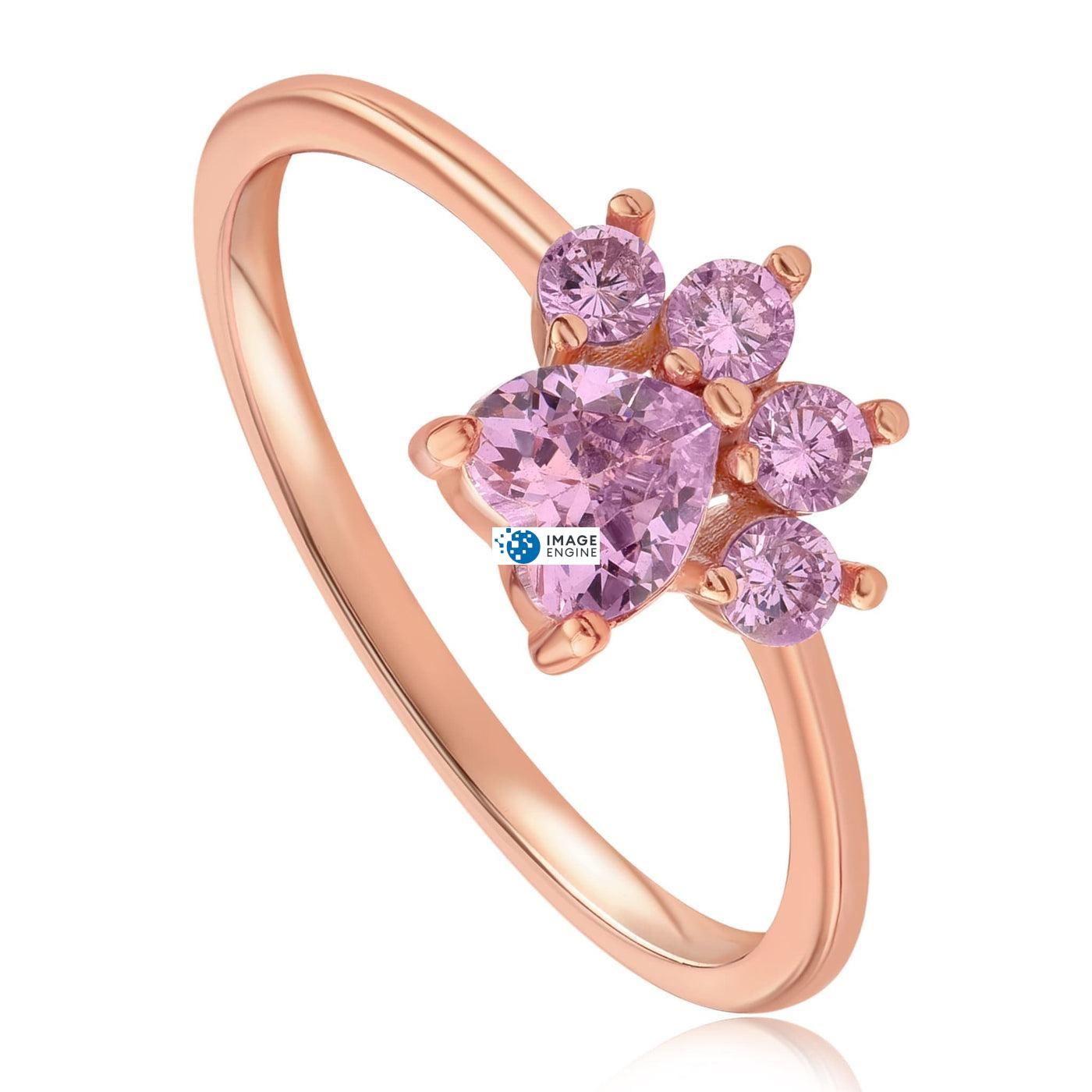 Bella Paw Rose Quartz Ring - Three Quarter View - 18K Rose Gold Vermeil