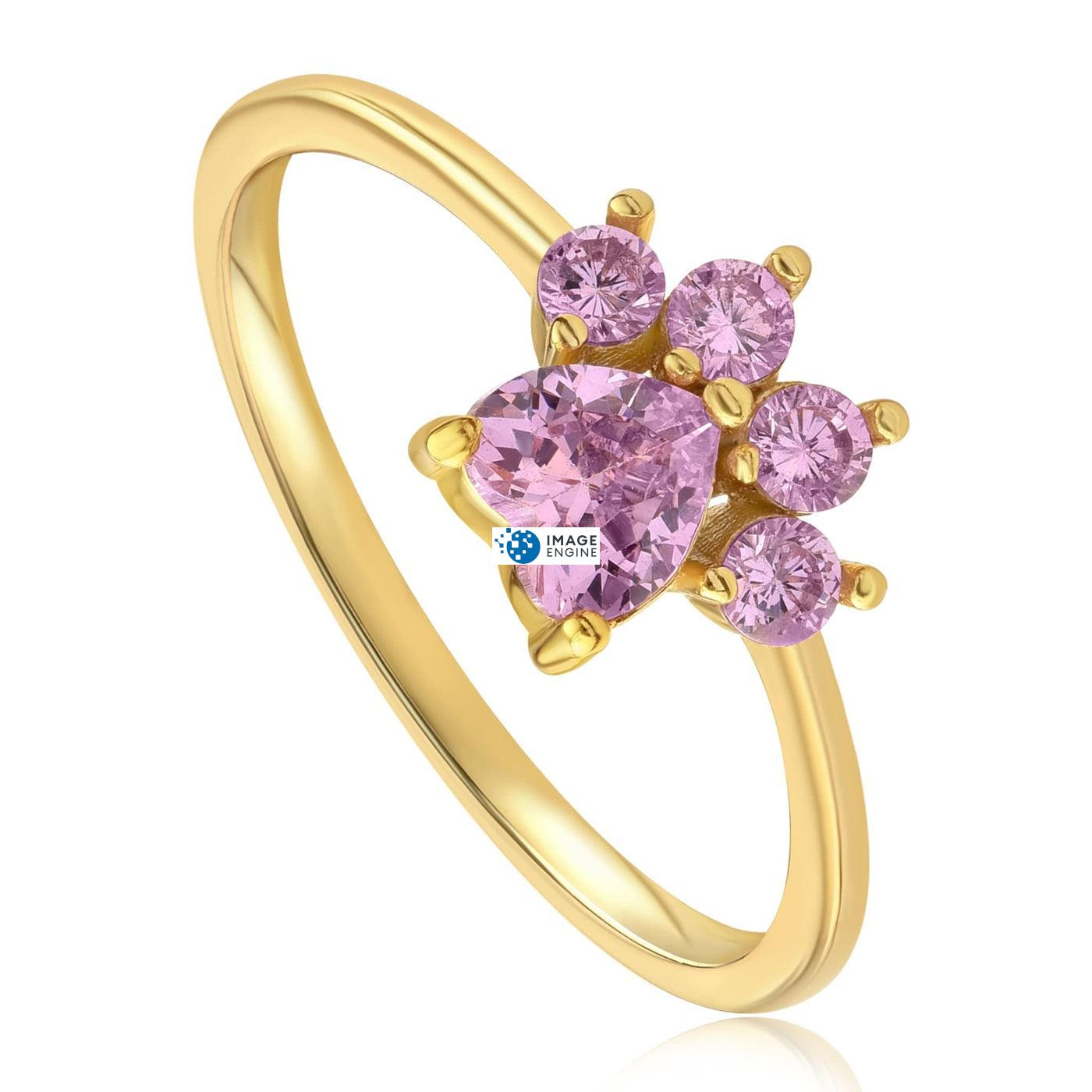 Bella Paw Rose Quartz Ring - Three Quarter View - 18K Yellow Gold Vermeil
