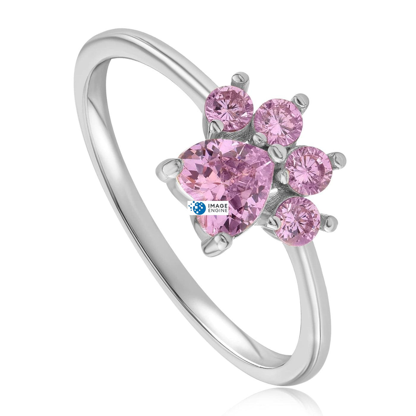 Bella Paw Rose Quartz Ring - Three Quarter View - 925 Sterling Silver