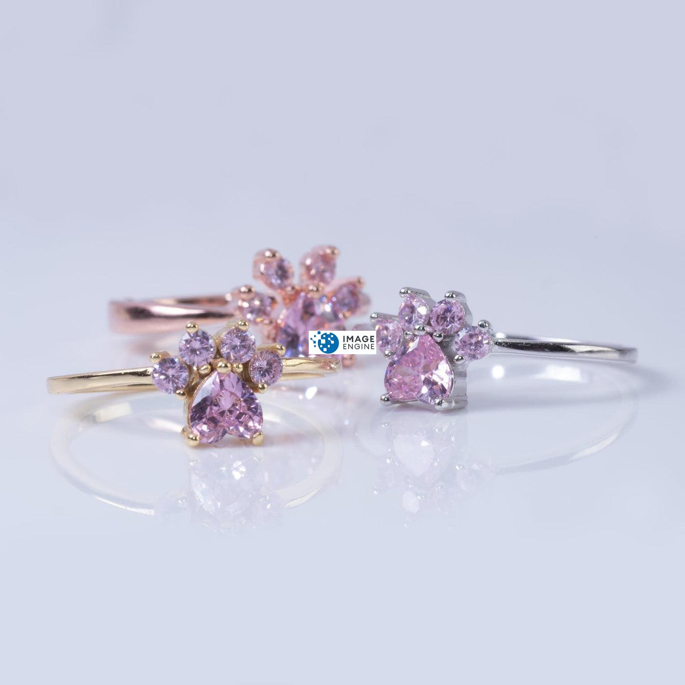 Bella Paw Rose Quartz Ring - Trio staggered w each other