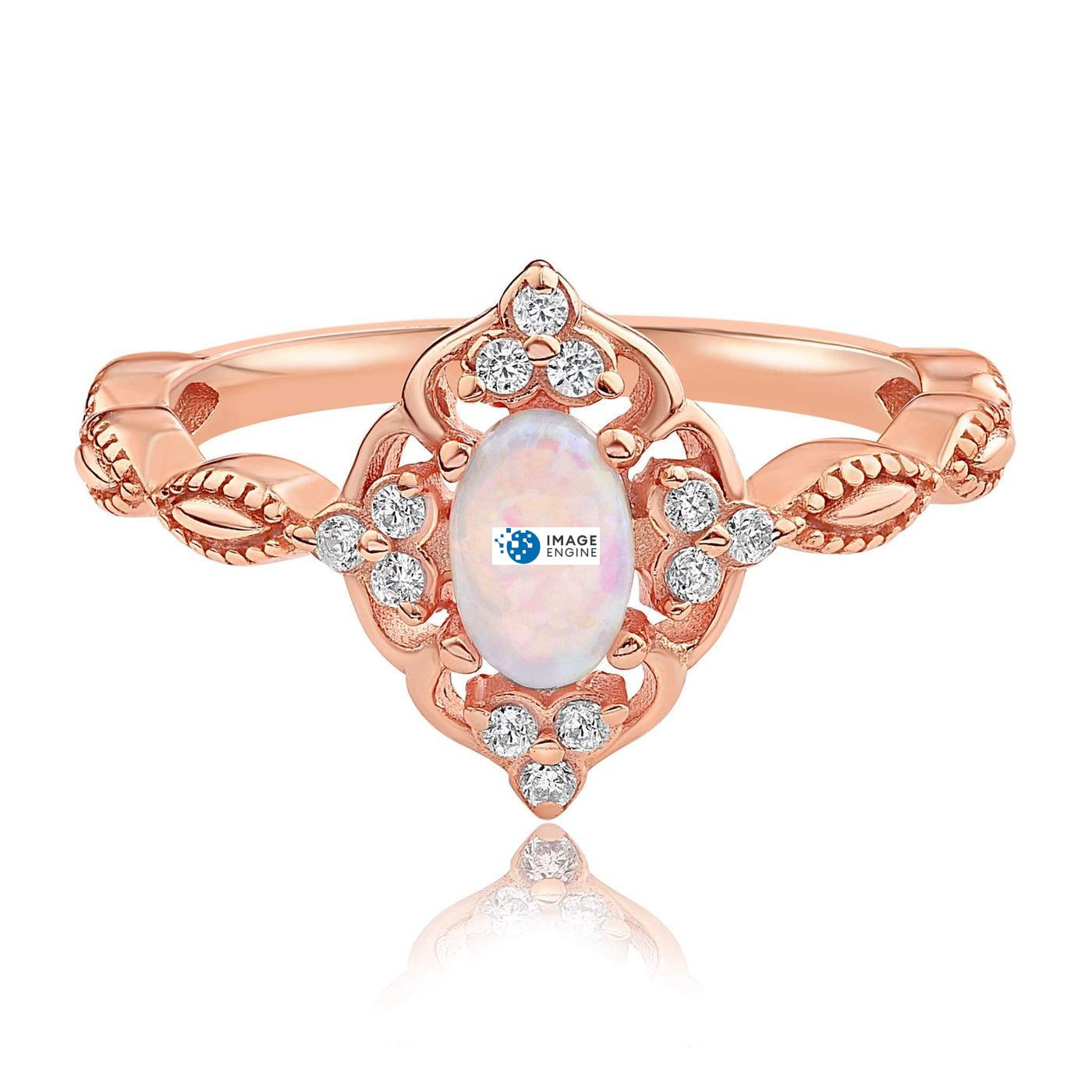 Blue Opal Carved Ring - Front View Facing Down - 18K Rose Gold Vermeil
