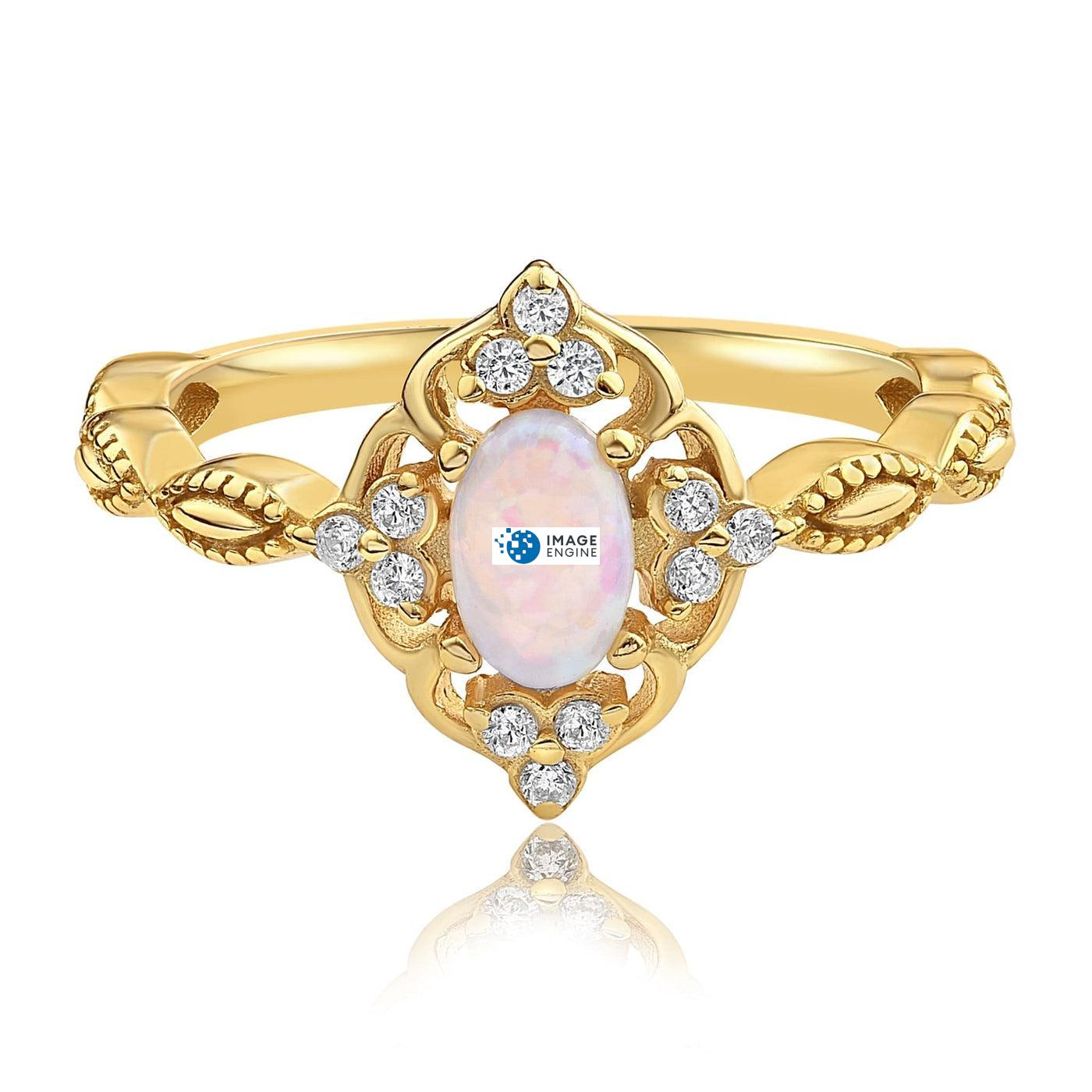 Blue Opal Carved Ring - Front View Facing Down - 18K Yellow Gold Vermeil