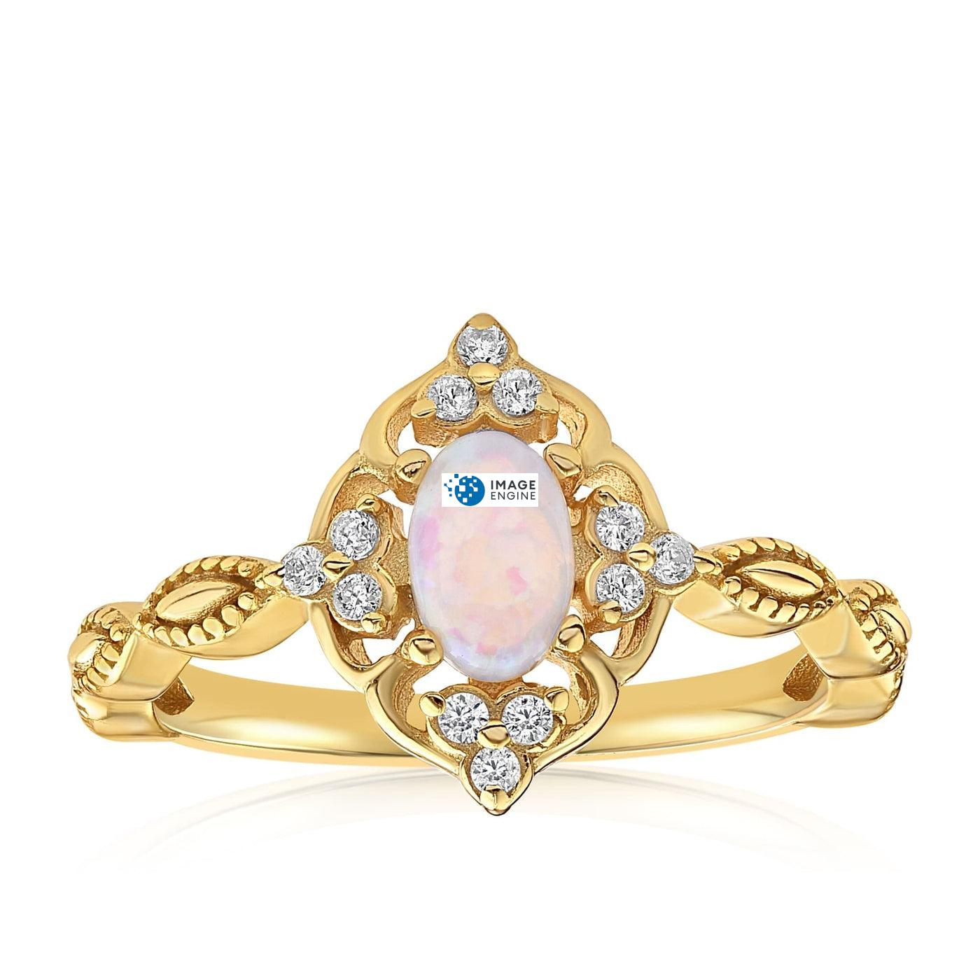 Blue Opal Carved Ring - Front View Facing Up - 18K Yellow Gold Vermeil Featured