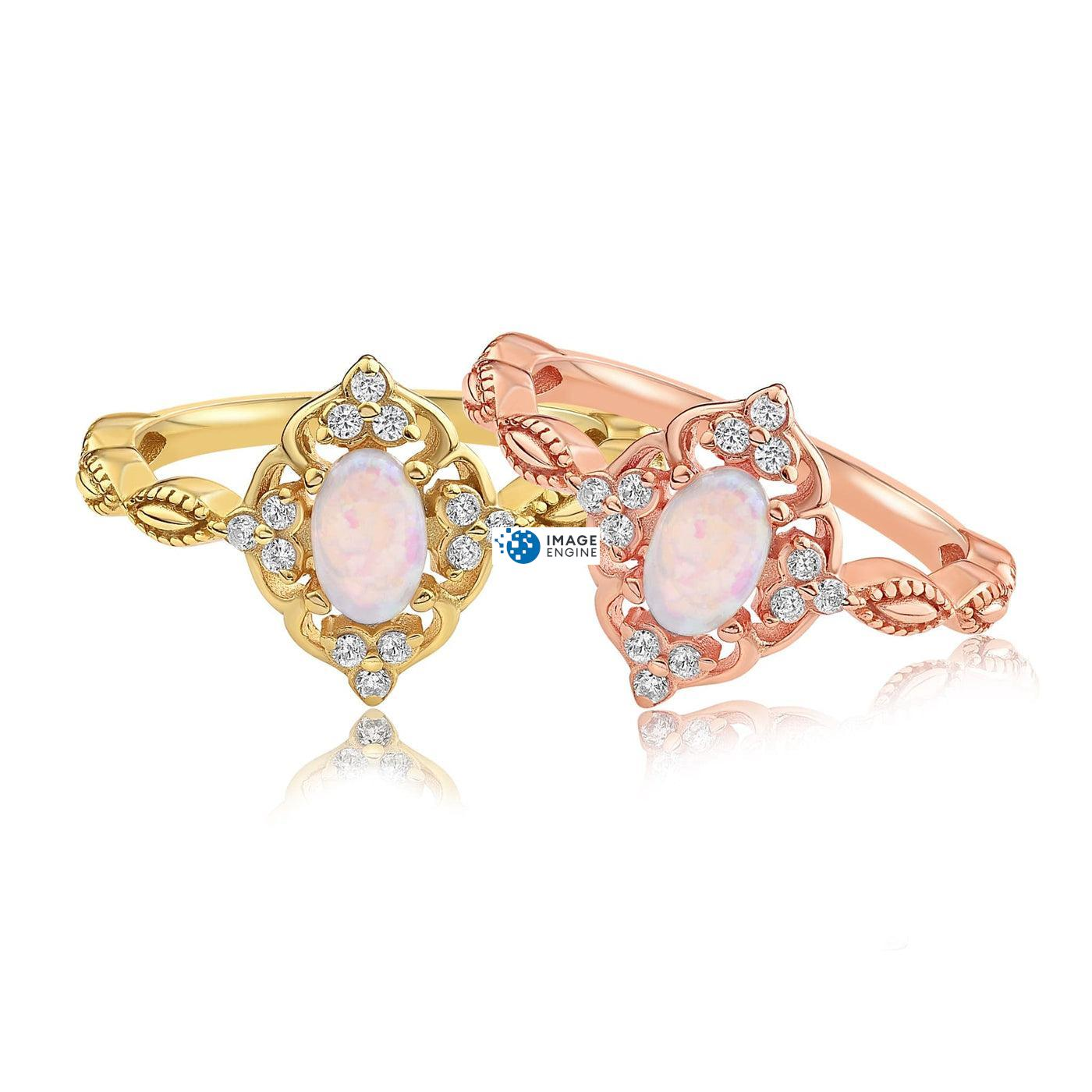 Blue Opal Carved Ring - Front View Side by Side - 18K Rose Gold Vermeil and 18K Yellow Gold Vermeil