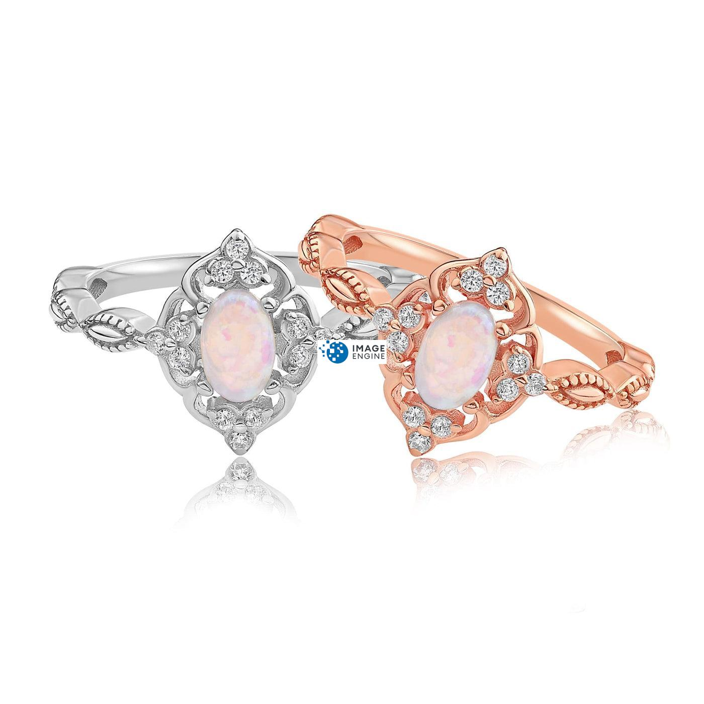 Blue Opal Carved Ring - Front View Side by Side - 18K Rose Gold Vermeil and 925 Sterling Silver