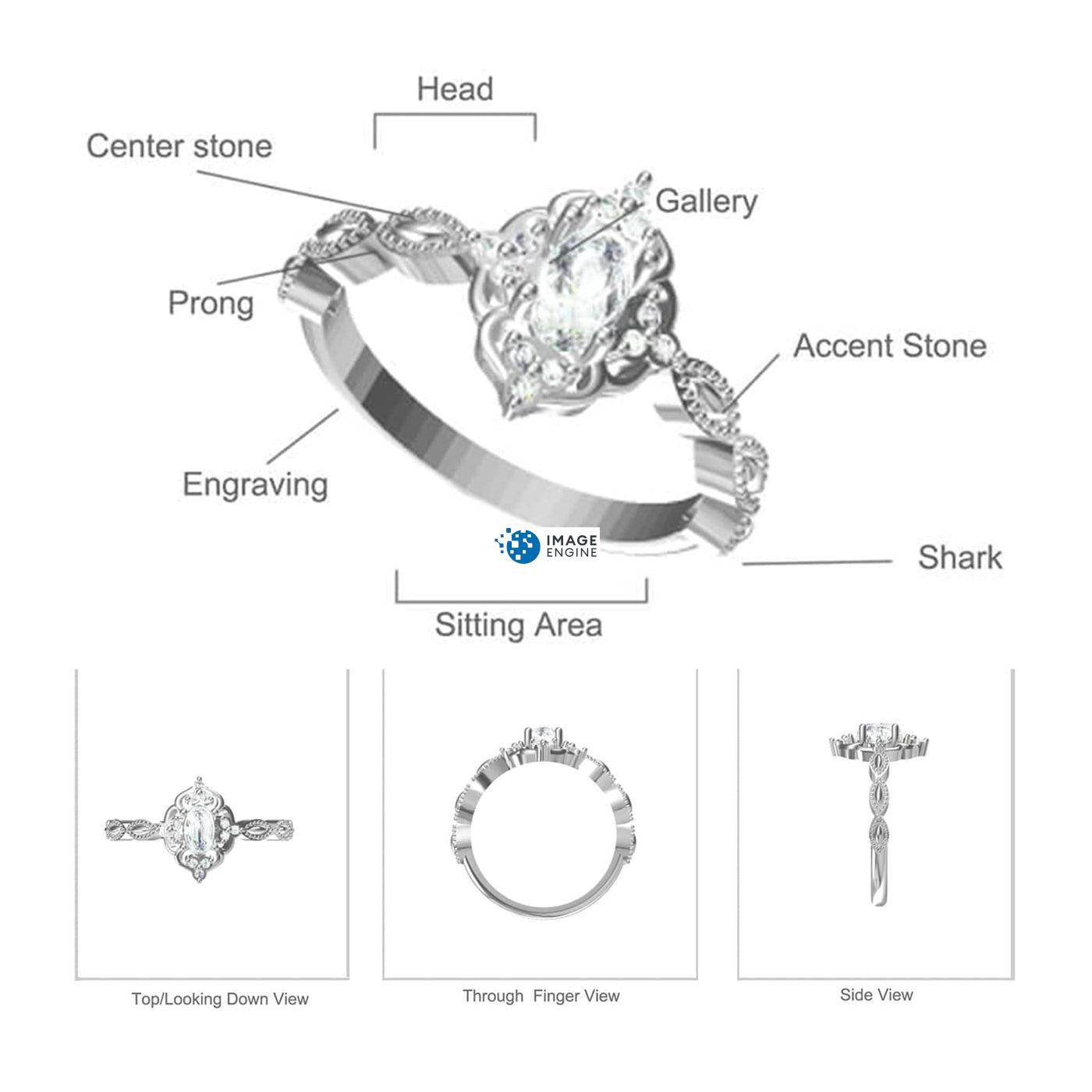 Blue Opal Carved Ring - Parts - Diagram