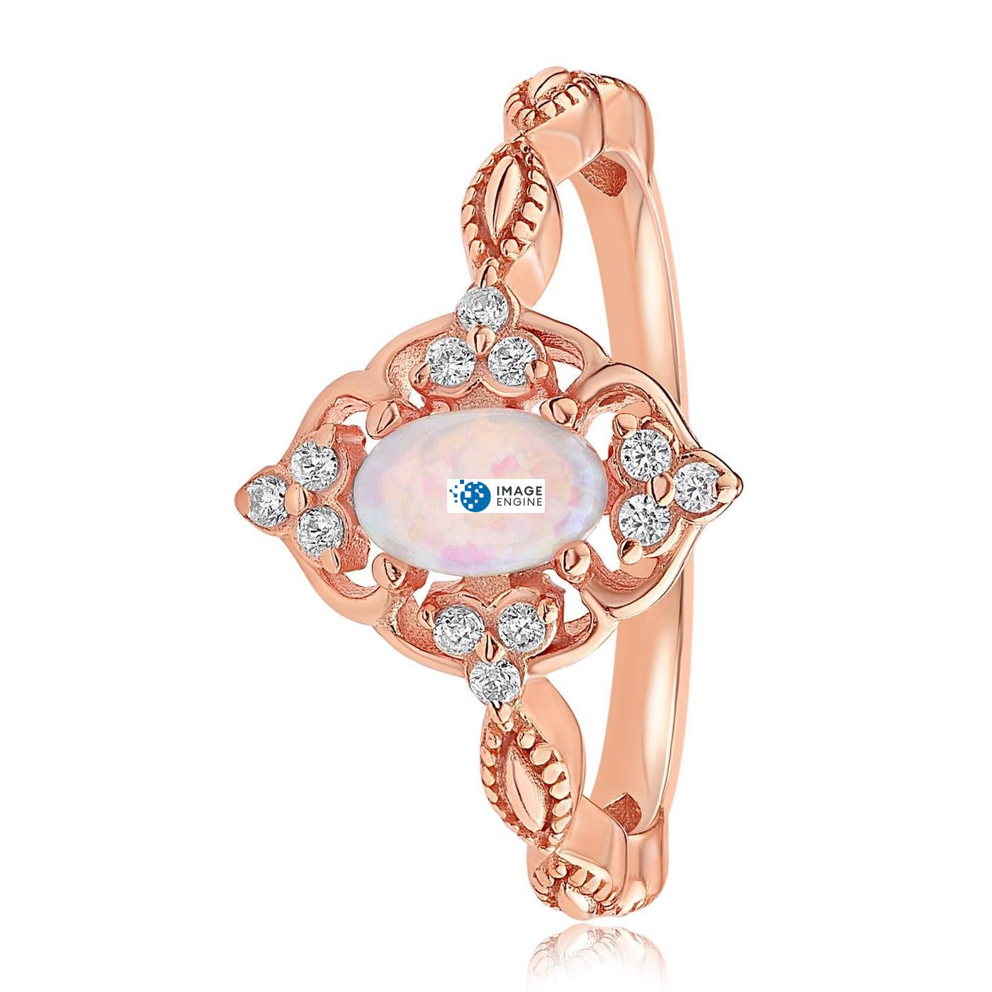 Blue Opal Carved Ring - Side View - 18K Rose Gold Vermeil
