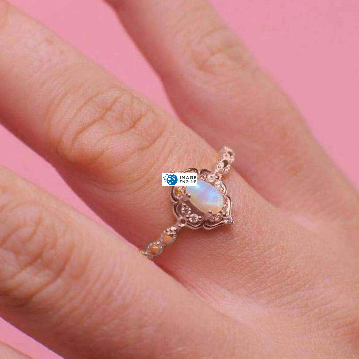 Blue Opal Carved Ring - Wearing on Ring Finger on Higher Angle View - 18K Rose Gold Vermeil