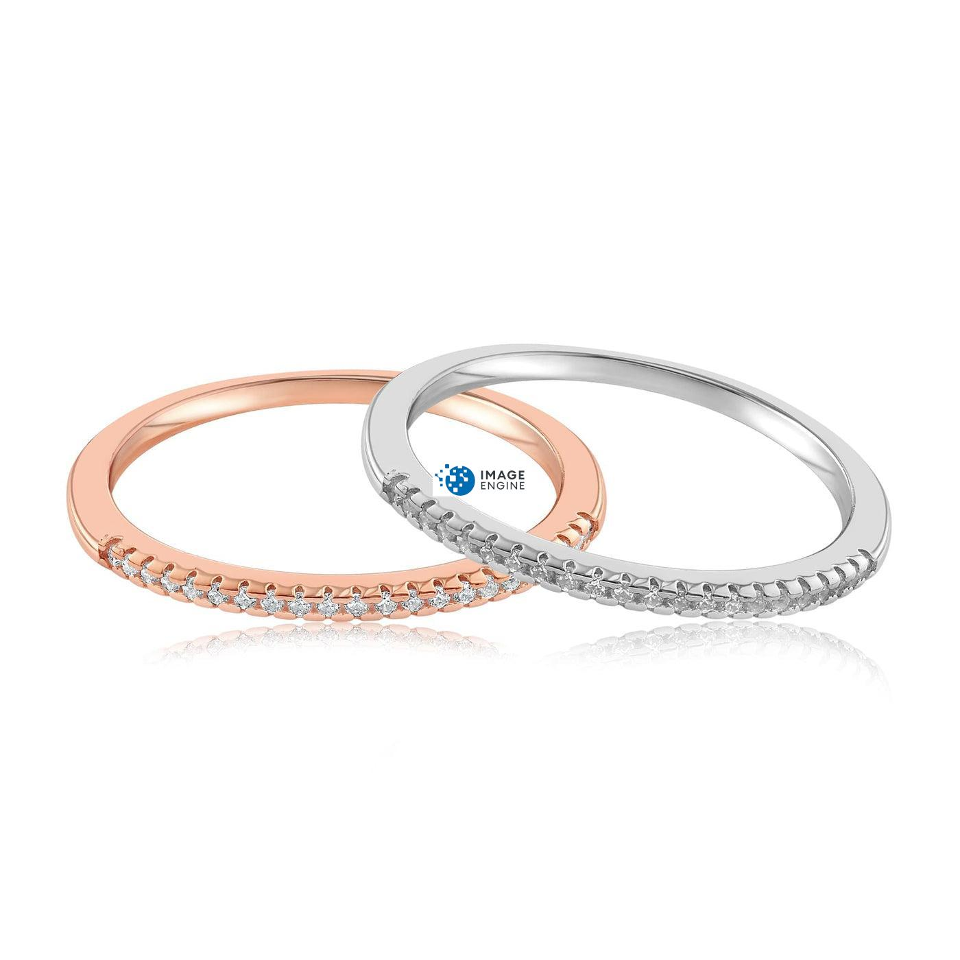 Brianna Bezel Ring - Front View SideBy Side - 18K Rose Gold Vermeil and 925 Sterling Silver
