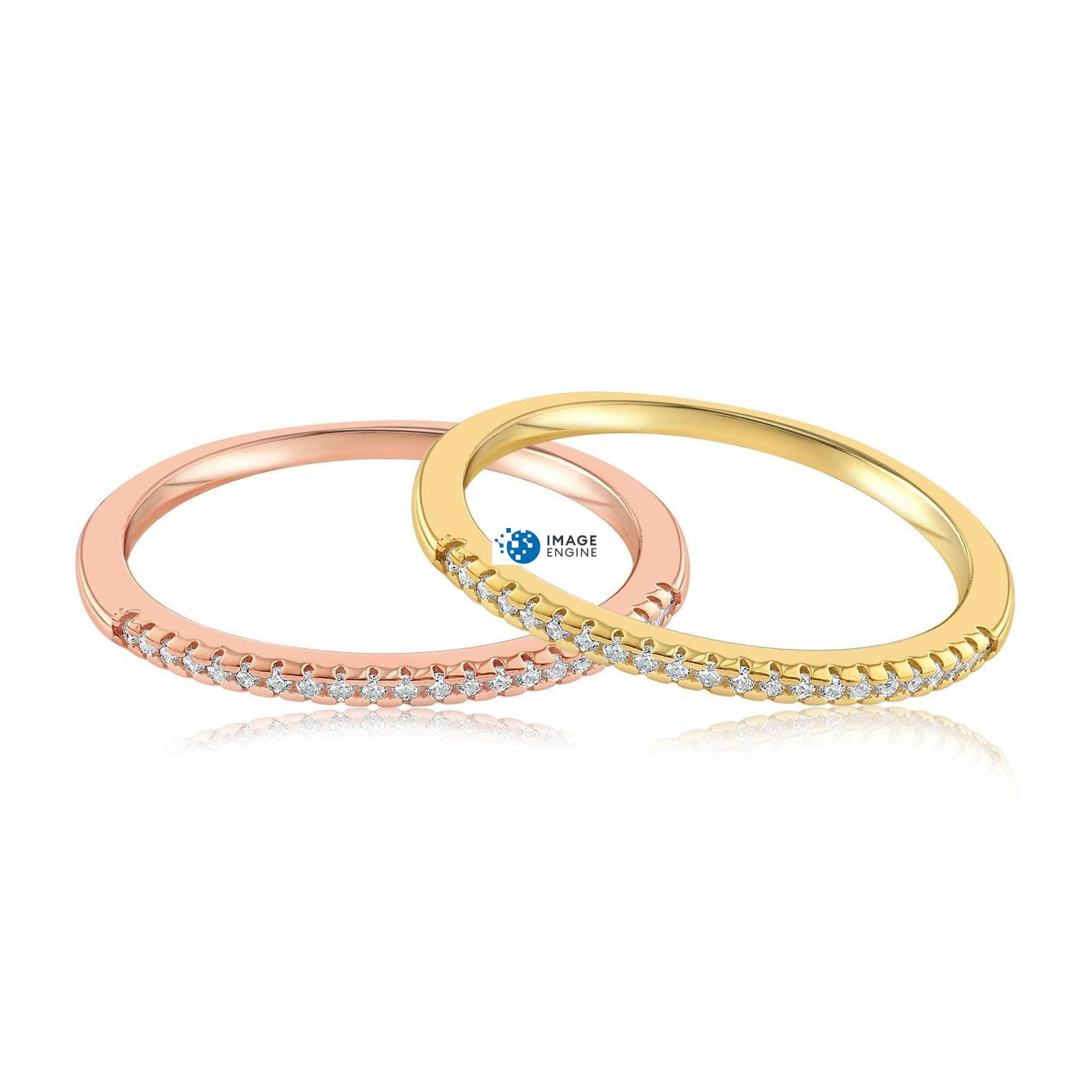 Brianna Bezel Ring - Front View SideBy Side - 18K Rose Gold Vermeil and 18K Yellow Gold Vermeil