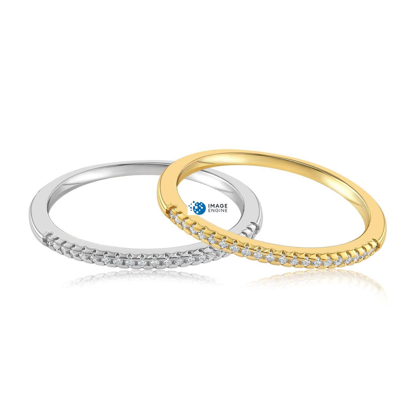Brianna Bezel Ring - Front View SideBy Side - 18K Yellow Gold Vermeil and 925 Sterling Silver