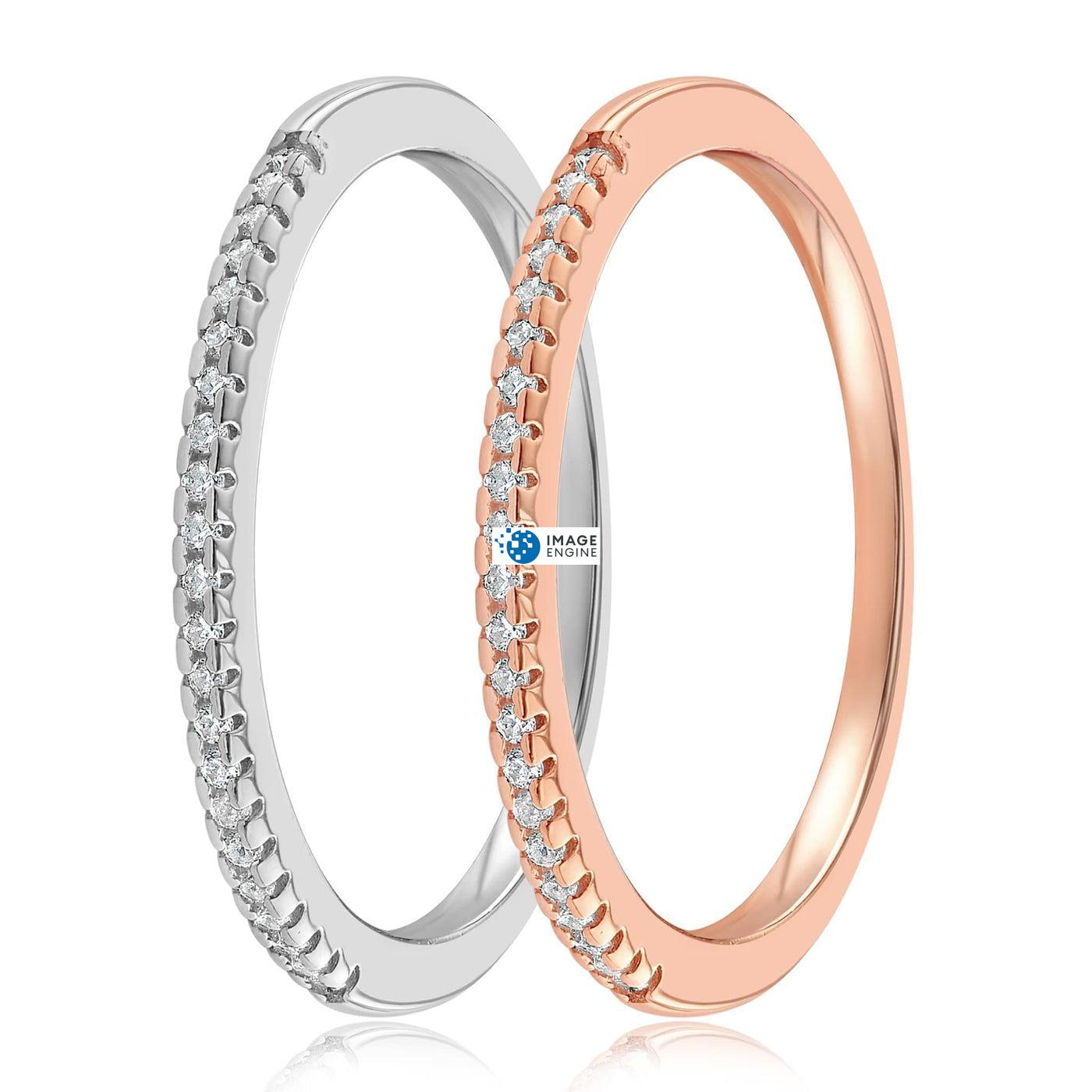 Brianna Bezel Ring - SideBy Side - 925 Sterling Silver and 18K Rose Gold Vermeil