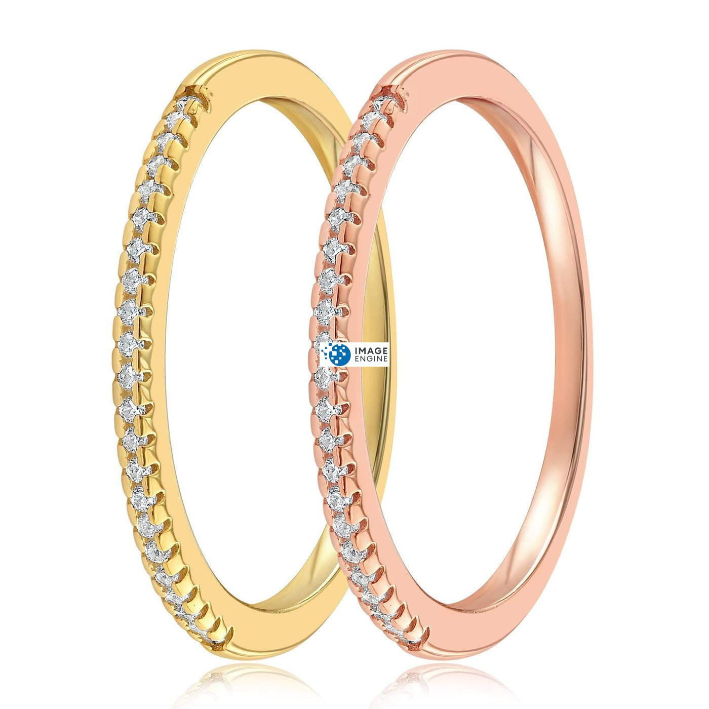 Brianna Bezel Ring - SideBy Side - 18K Yellow Gold Vermeil and 18K Rose Gold Vermeil