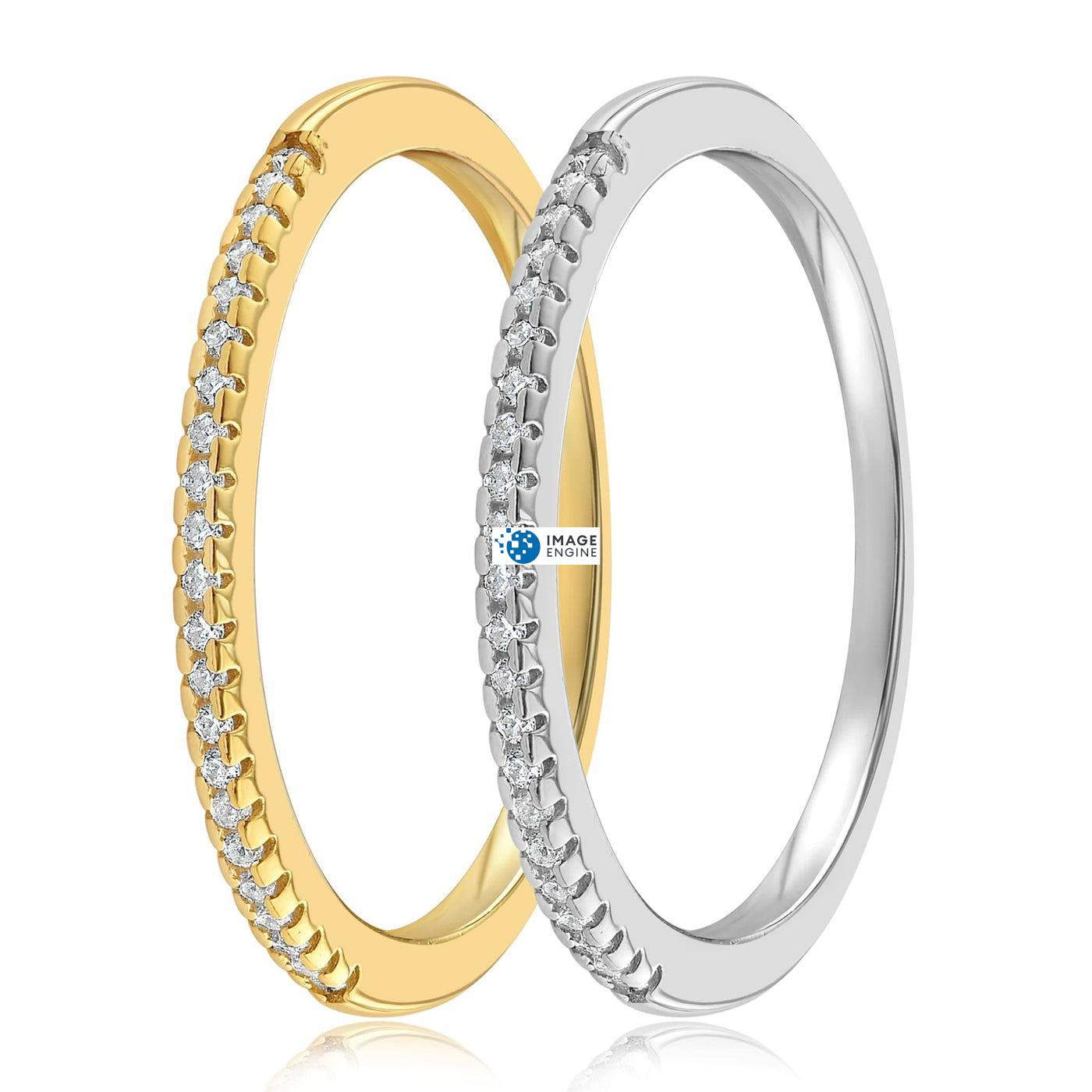 Brianna Bezel Ring - SideBy Side - 18K Yellow Gold and 925 Sterling Silver