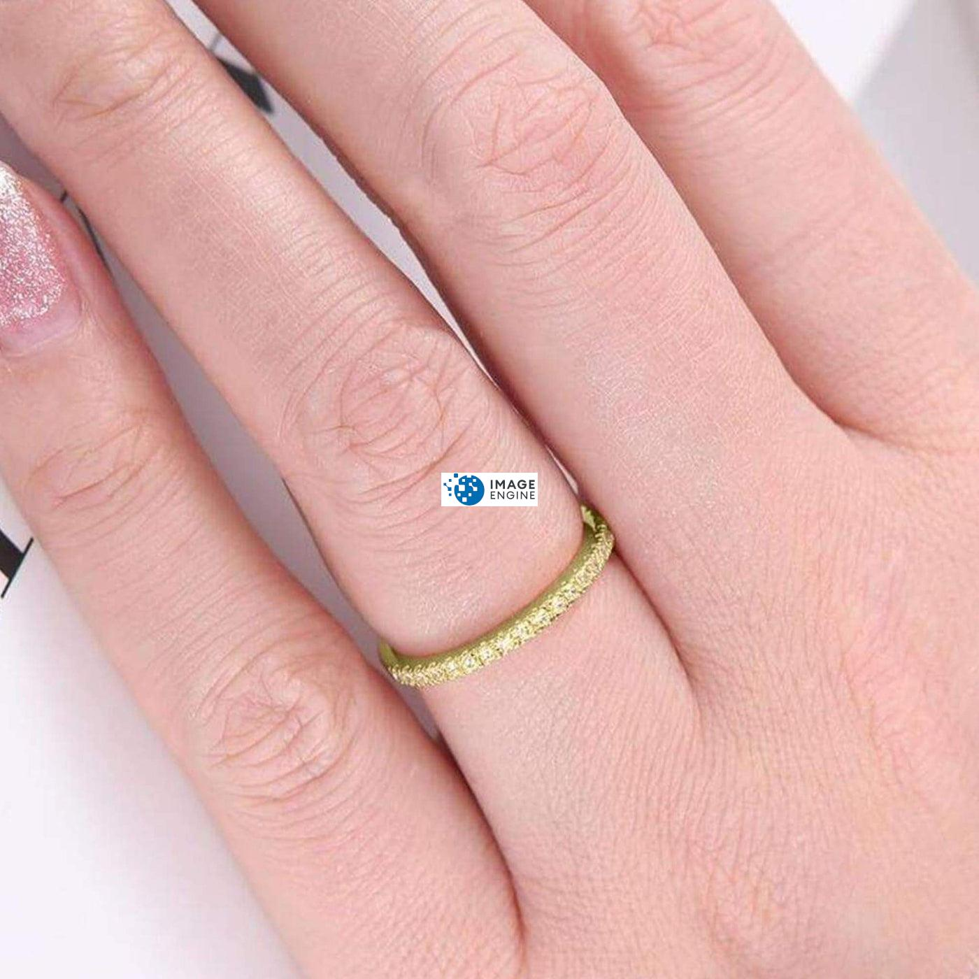 Brianna Bezel Ring - Wearing on Ring Finger on Higher Angle View - 18K Yellow Gold Vermeil