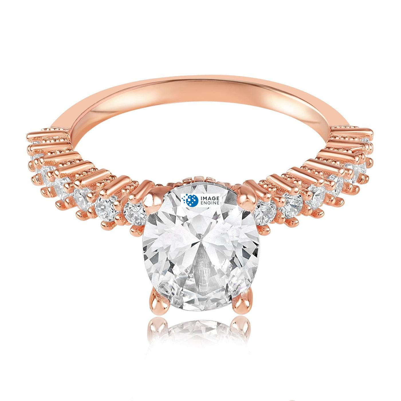 Cara Zirconia Ring - Front View Facing Down - 18K Rose Gold Vermeil