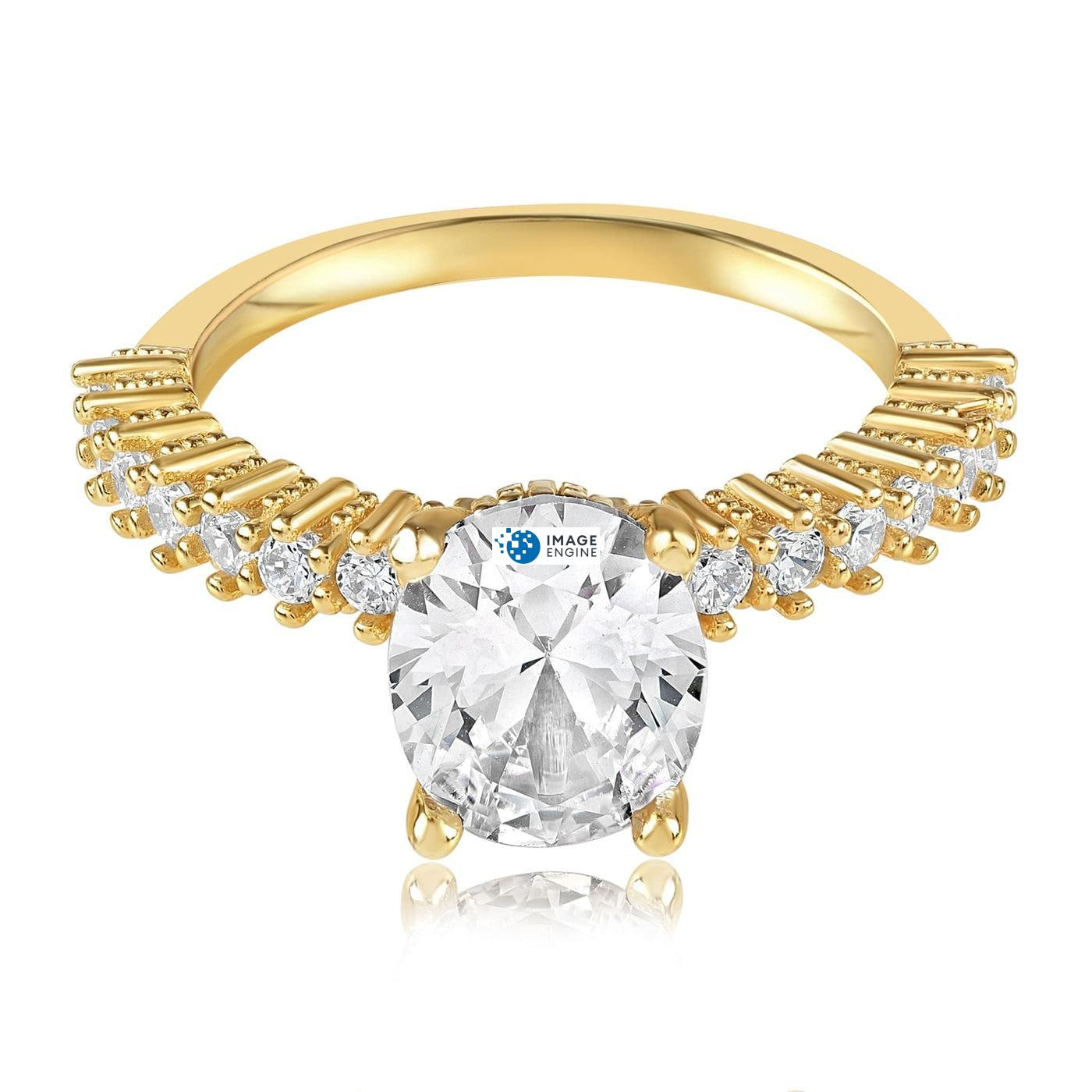 Cara Zirconia Ring - Front View Facing Down - 18K Yellow Gold Vermeil