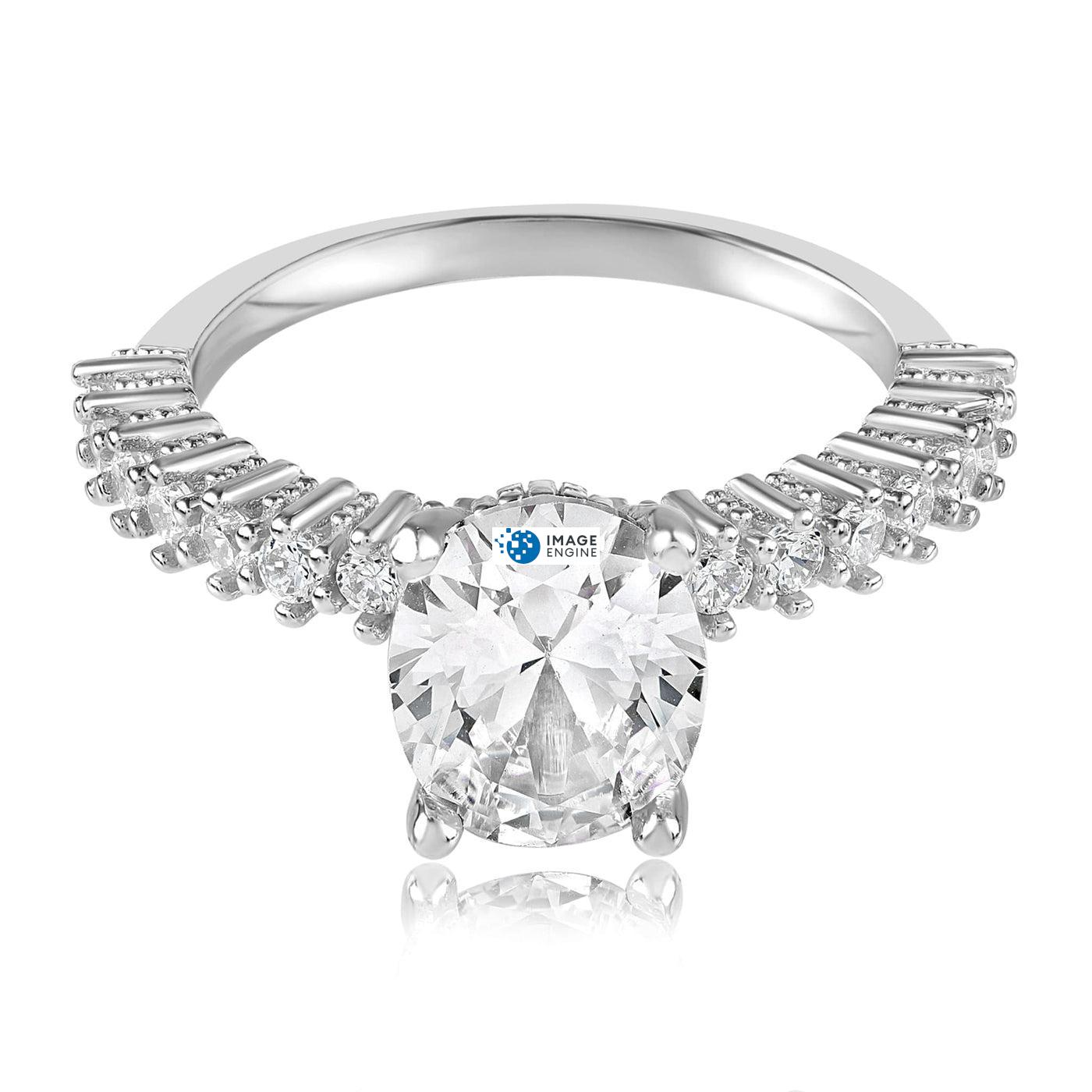 Cara Zirconia Ring - Front View Facing Down - 925 Sterling Silver
