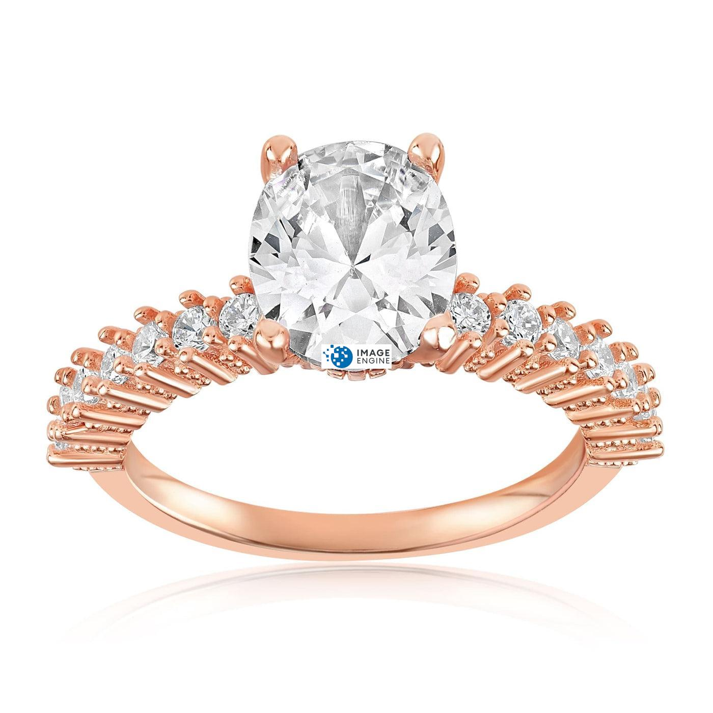 Cara Zirconia Ring - Front View Facing Up - 18K Rose Gold Vermeil