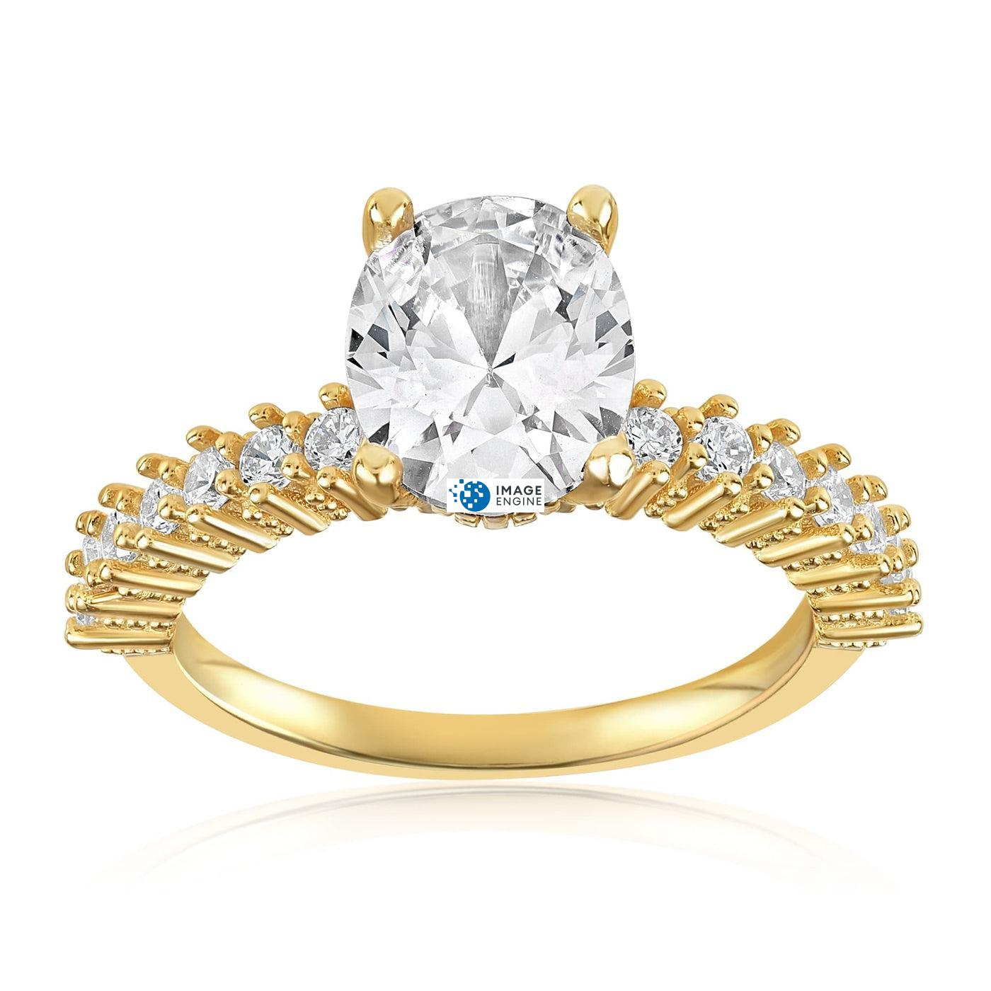 Cara Zirconia Ring - Front View Facing Up - 18K Yellow Gold Vermeil
