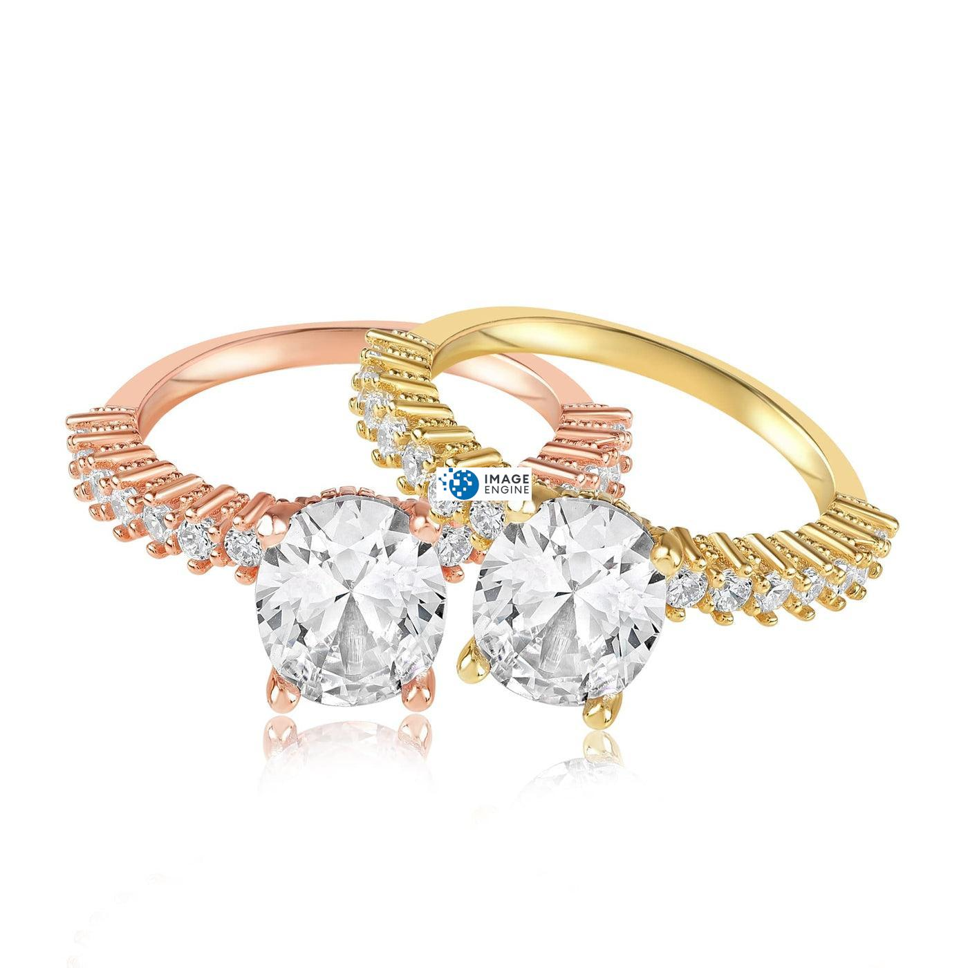 Cara Zirconia Ring - Front View Side by Side - 18K Rose Gold Vermeil and 18K Yellow Gold Vermeil