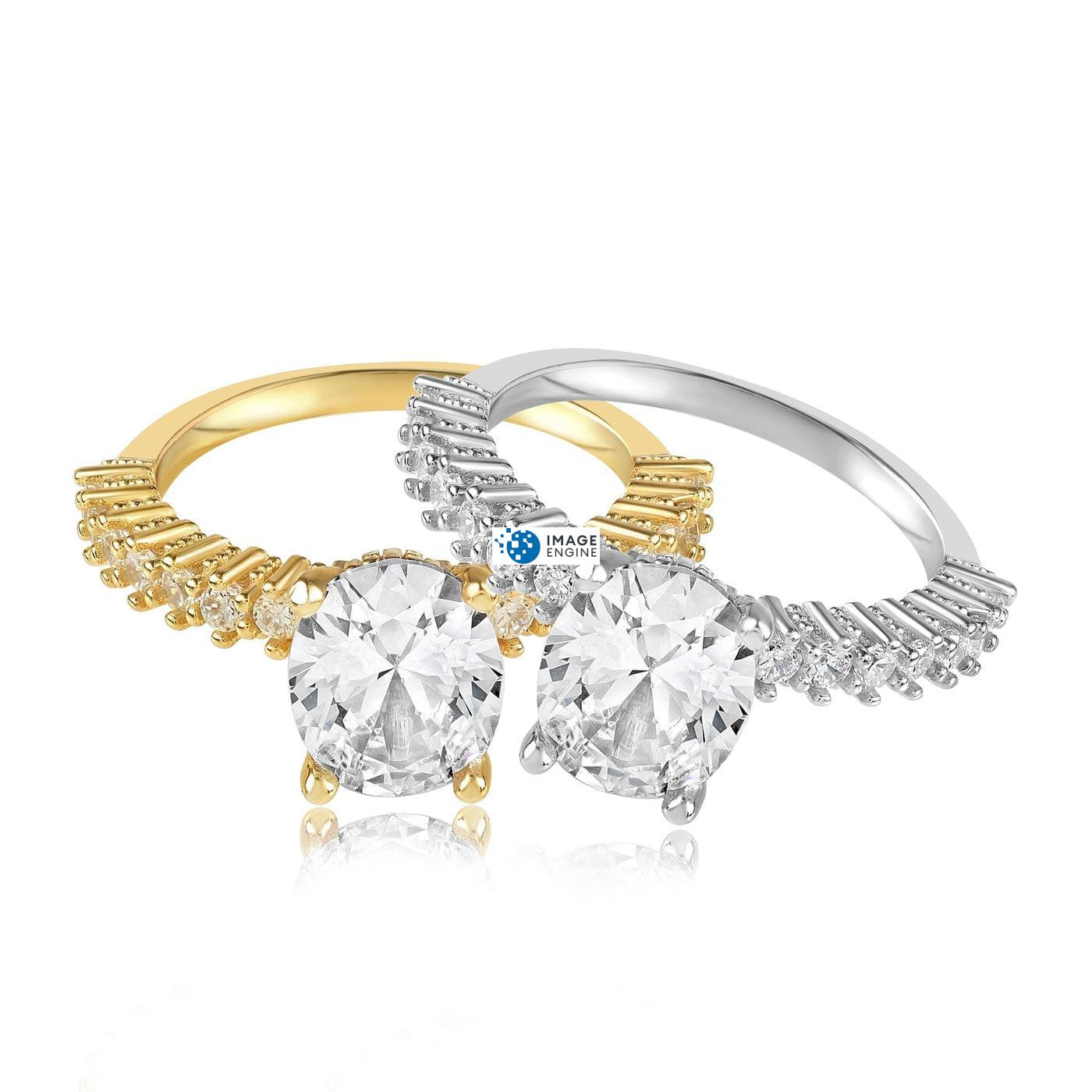 Cara Zirconia Ring - Front View Side by Side - 18K Yellow Gold Vermeil and 925 Sterling Silver
