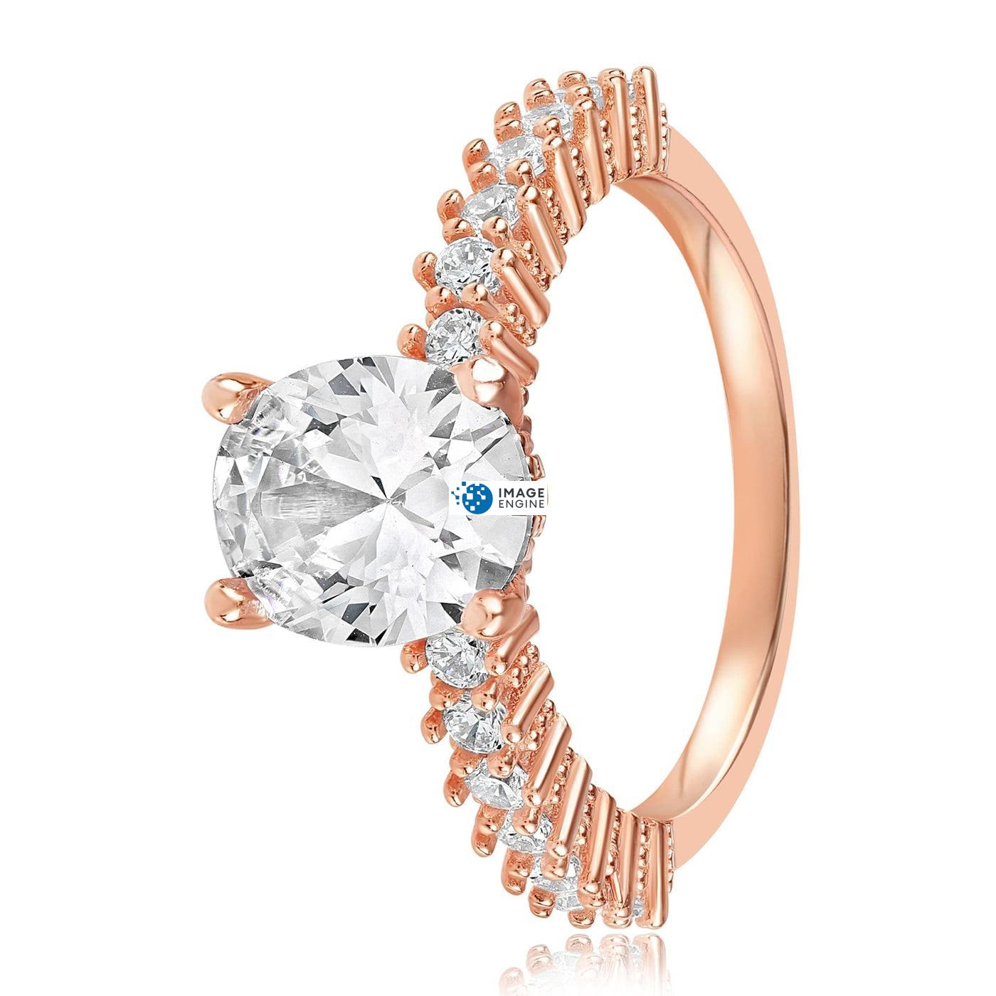Cara Zirconia Ring - Side View - 18K Rose Gold Vermeil