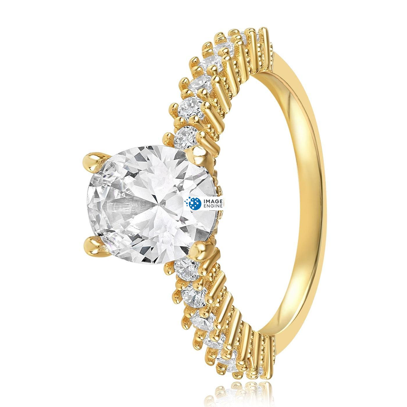 Cara Zirconia Ring - Side View - 18K Yellow Gold Vermeil