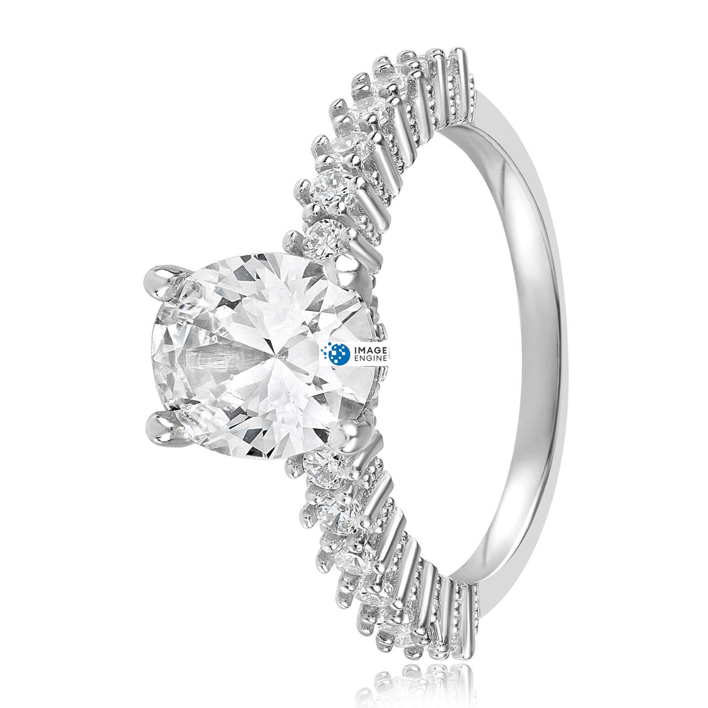 Cara Zirconia Ring - Side View - 925 Sterling Silver