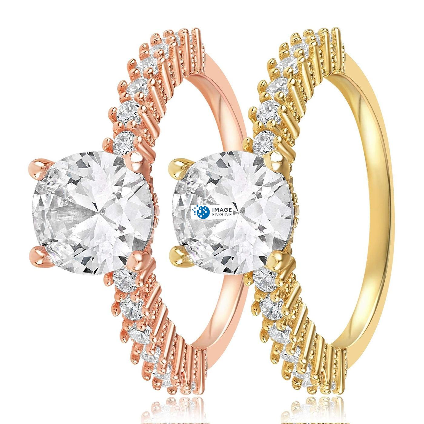 Cara Zirconia Ring - Side by Side - 18K Rose Gold Vermeil_ and 18K _Yellow Gold_Vermeil.jpg