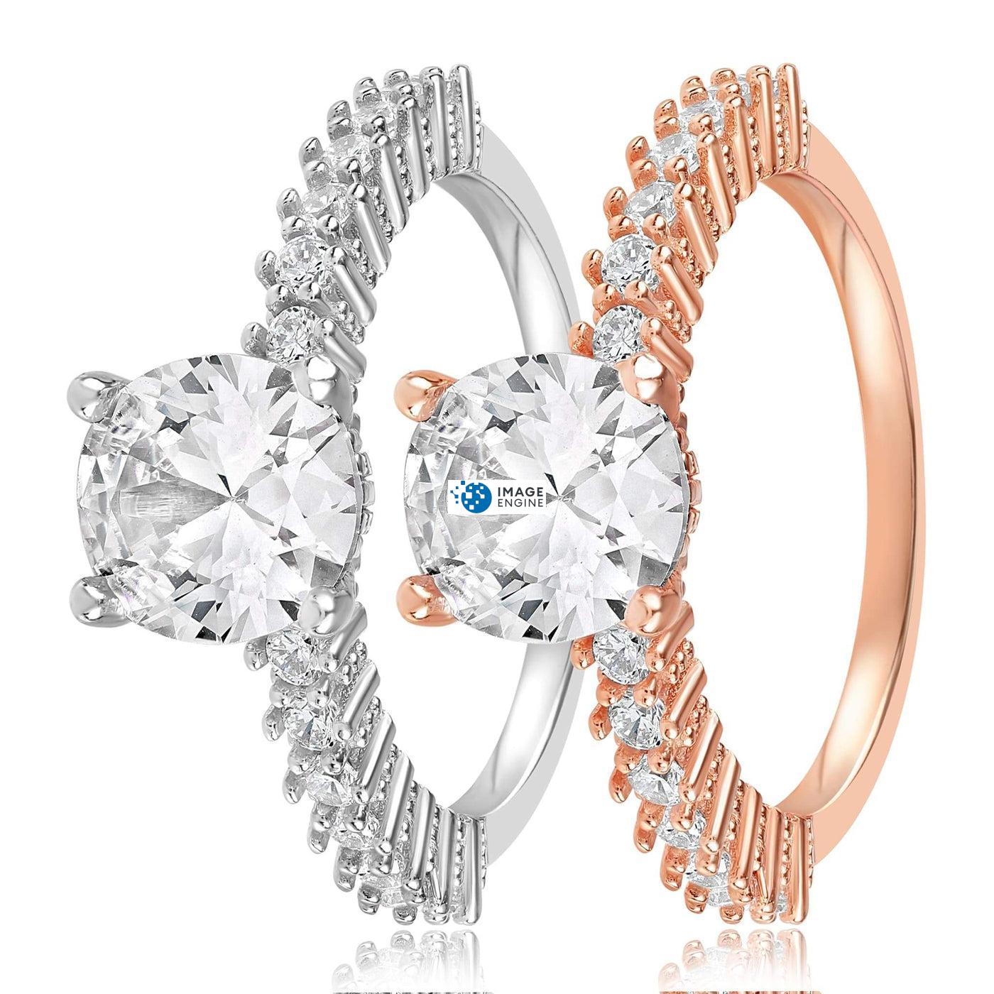 Cara Zirconia Ring - Side by Side - 925 Sterling Silver and 18K Rose Gold Vermeil
