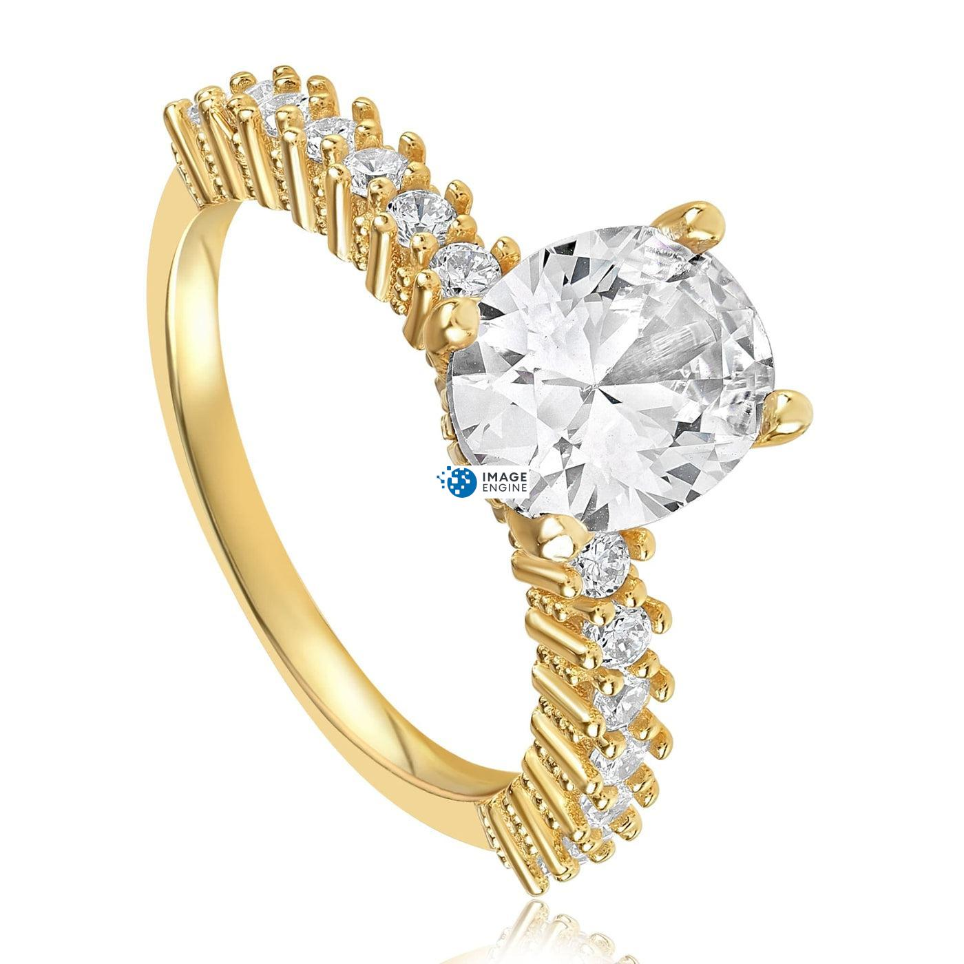 Cara Zirconia Ring - Three Quarter View - 18K Yellow Gold Vermeil