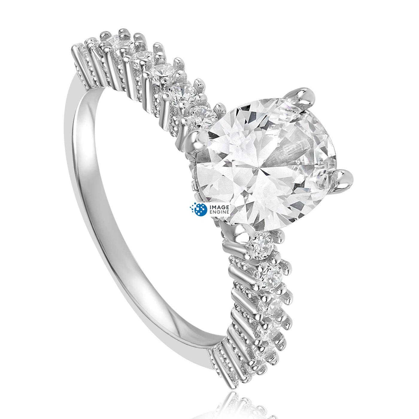 Cara Zirconia Ring - Three Quarter View - 925 Sterling Silver