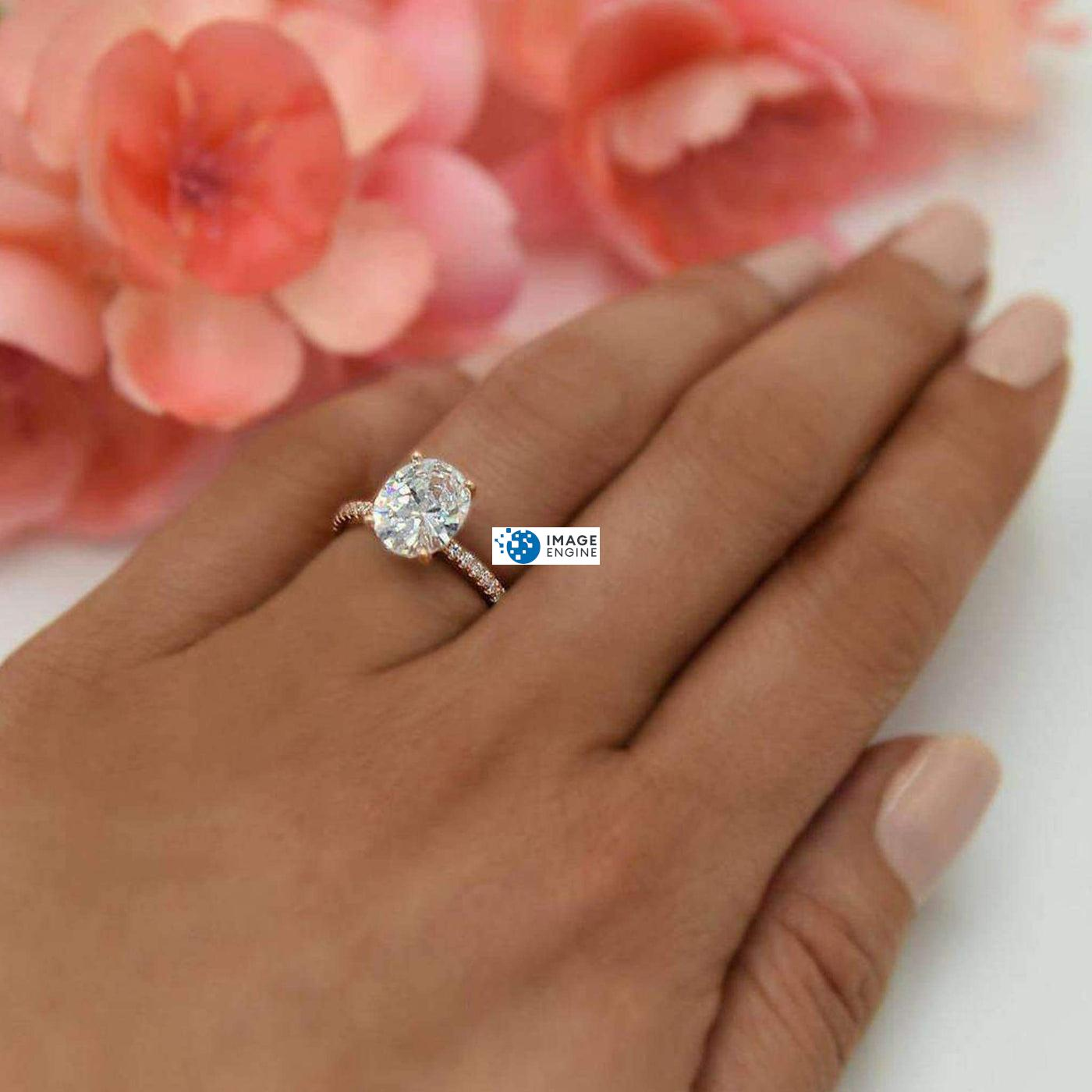 Cara Zirconia Ring - Wearing on Ring Finger  - 18K Rose Gold Vermeil