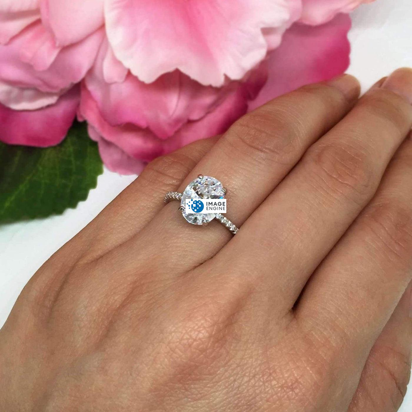 Cara Zirconia Ring - Wearing on Ring Finger View - 925 Sterling Silver